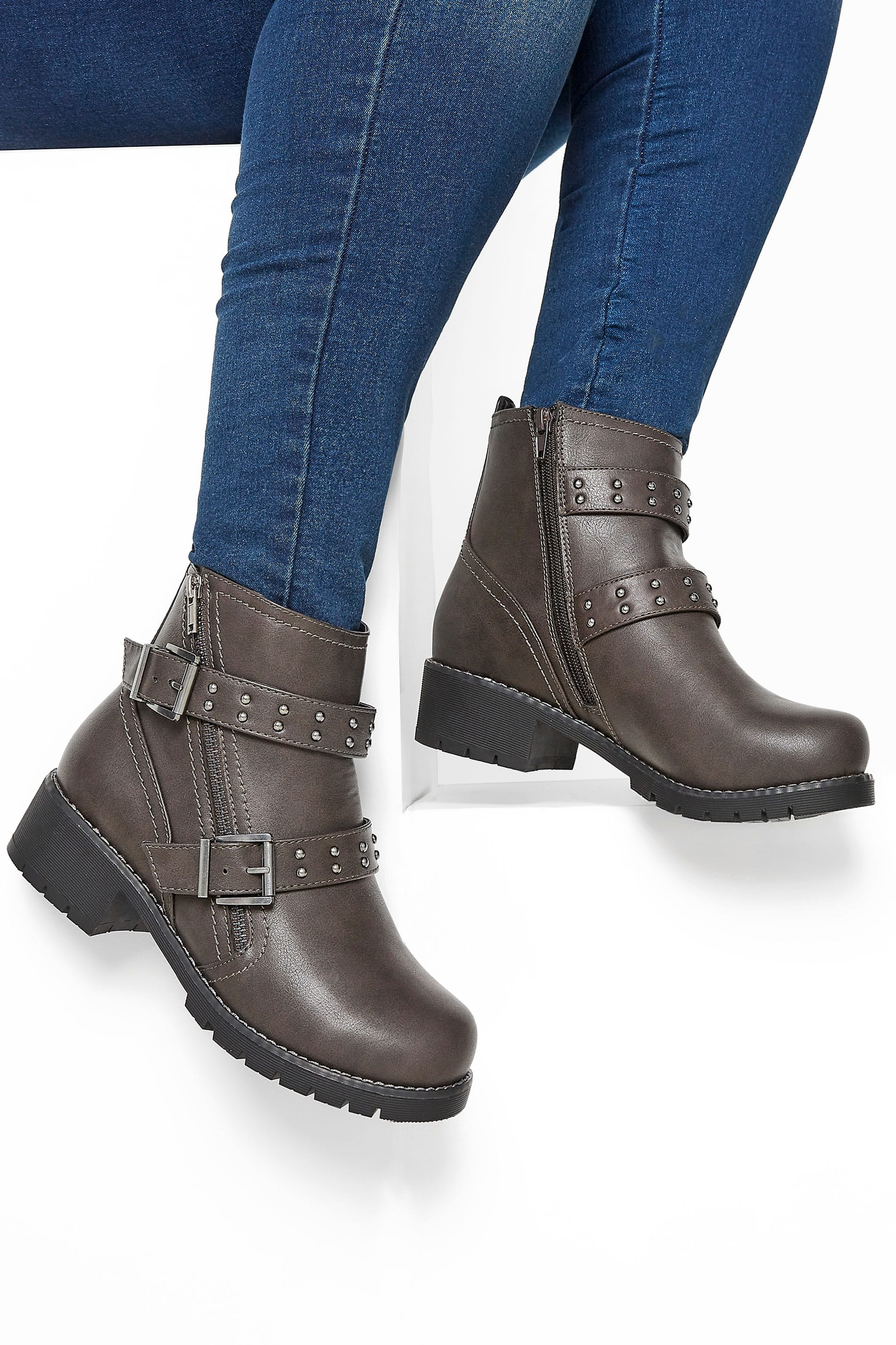 Yours Grey Stud Strap Buckle Ankle Boots In Extra Wide Fit
