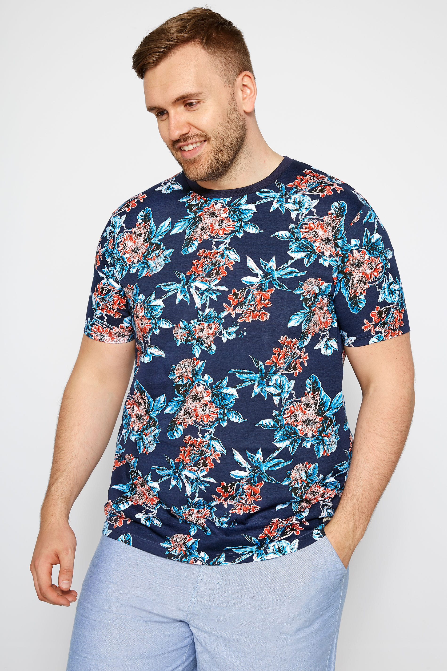 BadRhino Navy Tropical Floral T-shirt