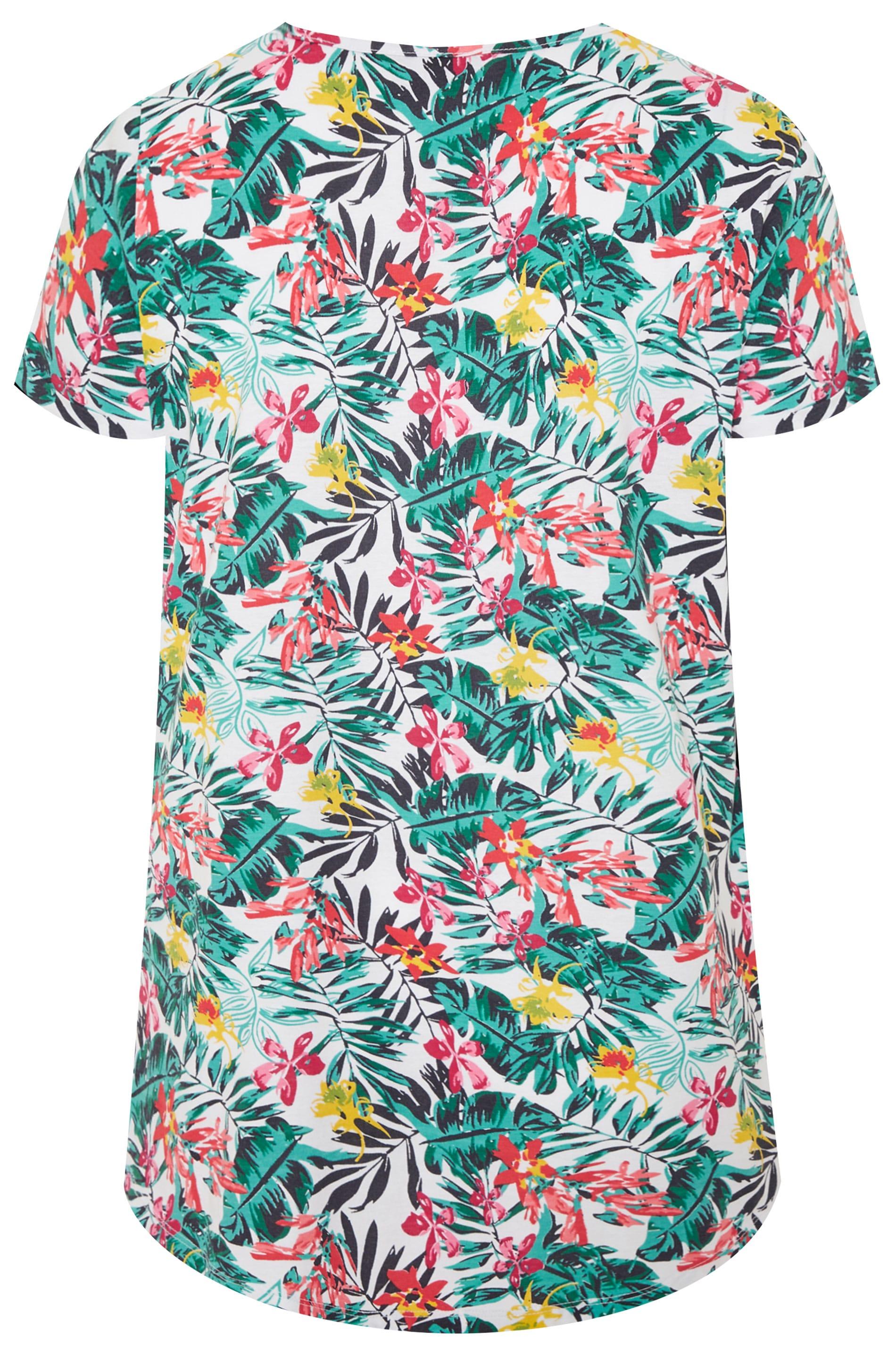 Plus Size Pink Tropical Floral Mock Pocket T-Shirt   Sizes