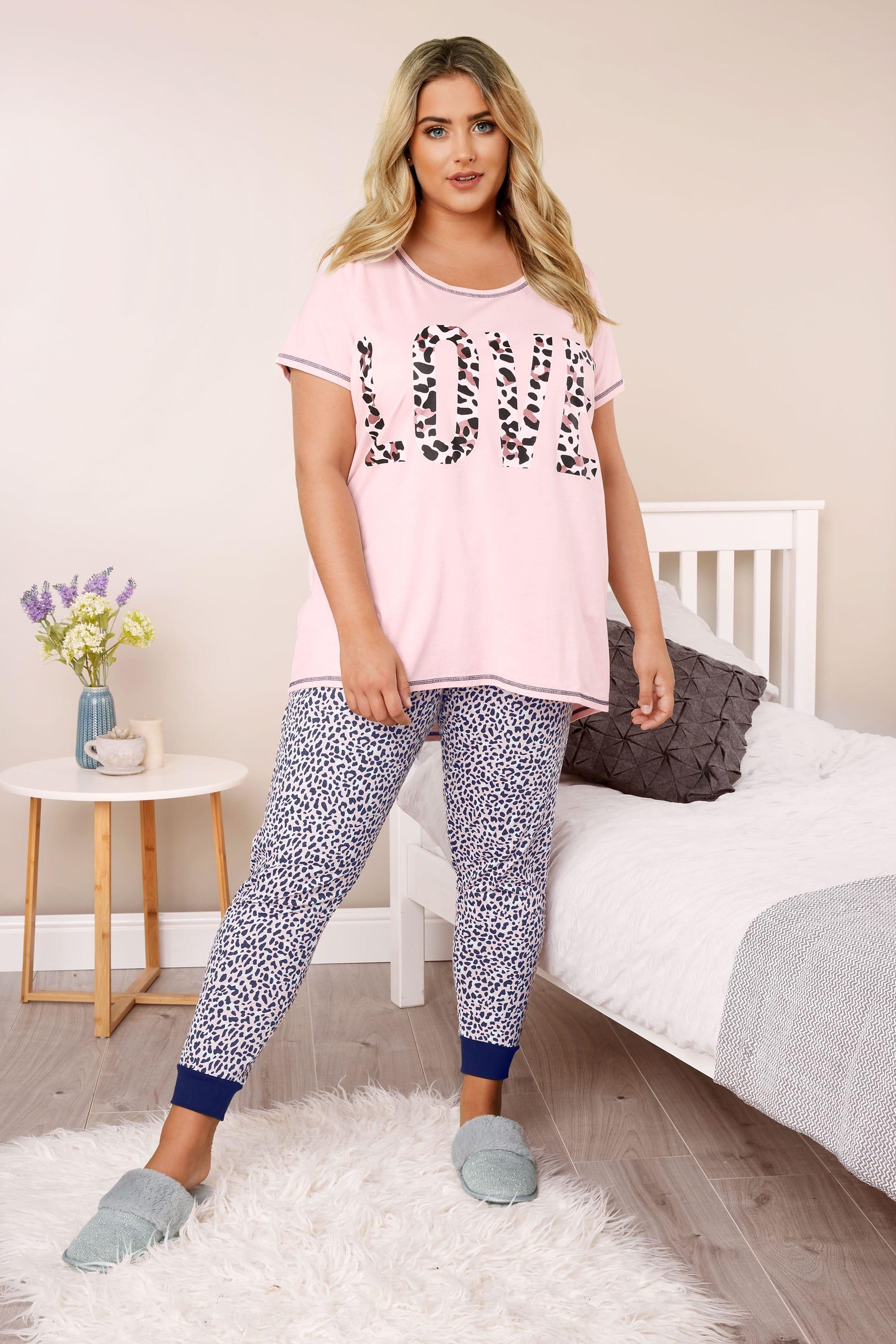 Pink Leopard Print 'Love' Slogan Pyjama Set