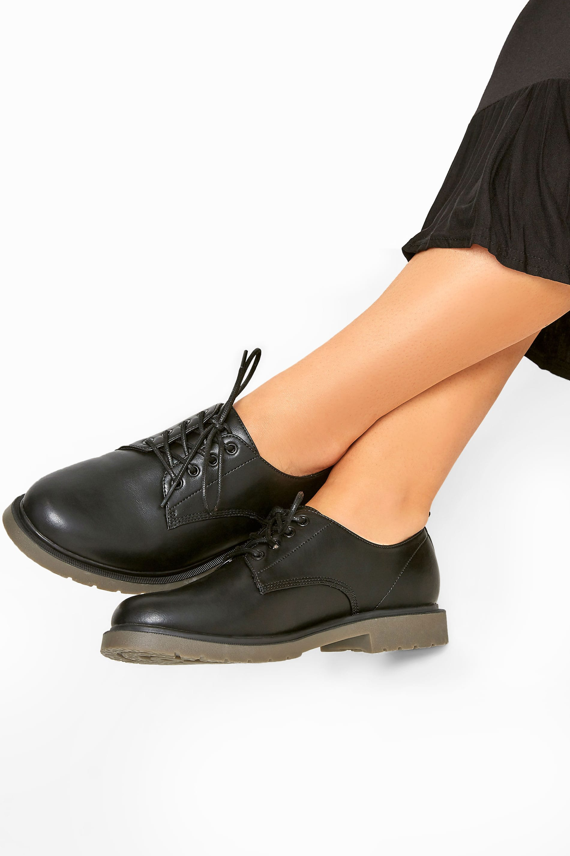 Black Faux Leather Lace Up Brogues In