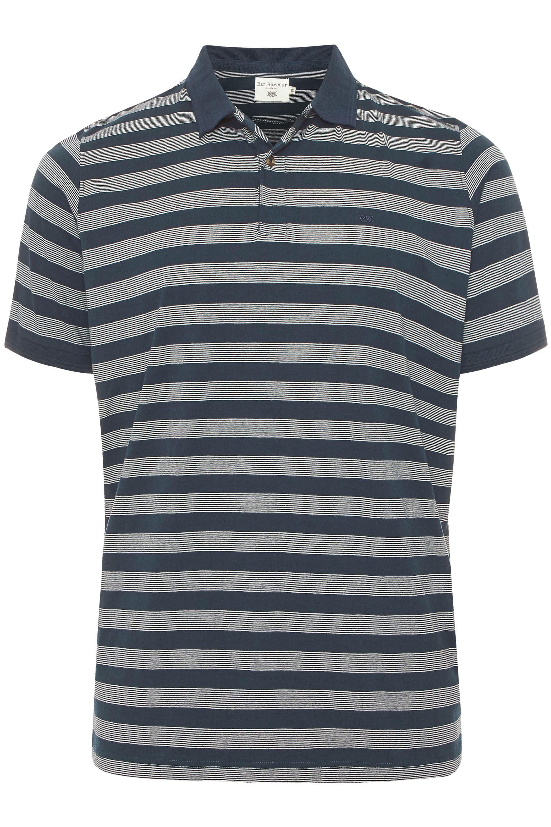 BAR HARBOUR Navy Stripe Polo Shirt