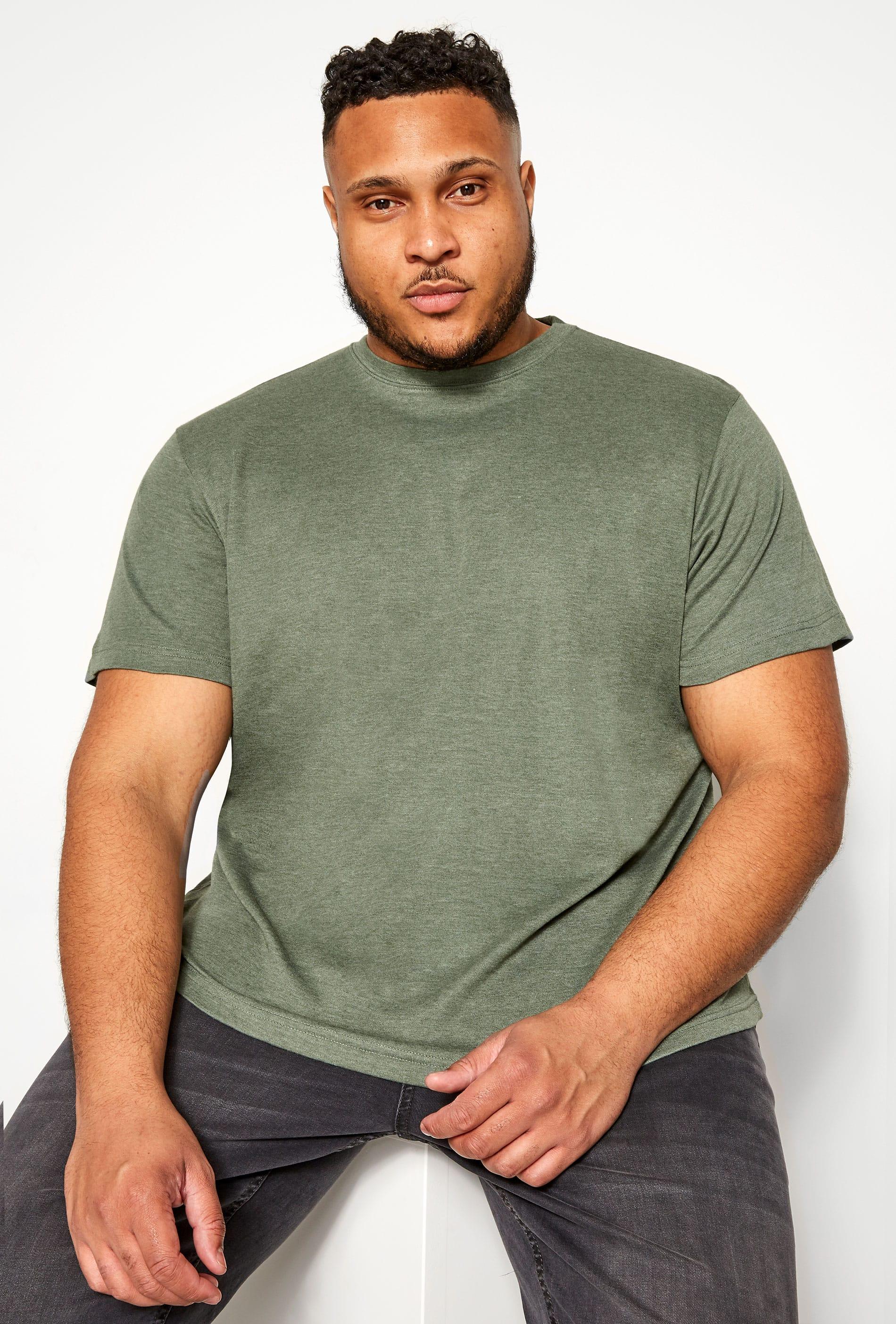 BAR HARBOUR Sage Green Marl Plain Crew Neck T-Shirt