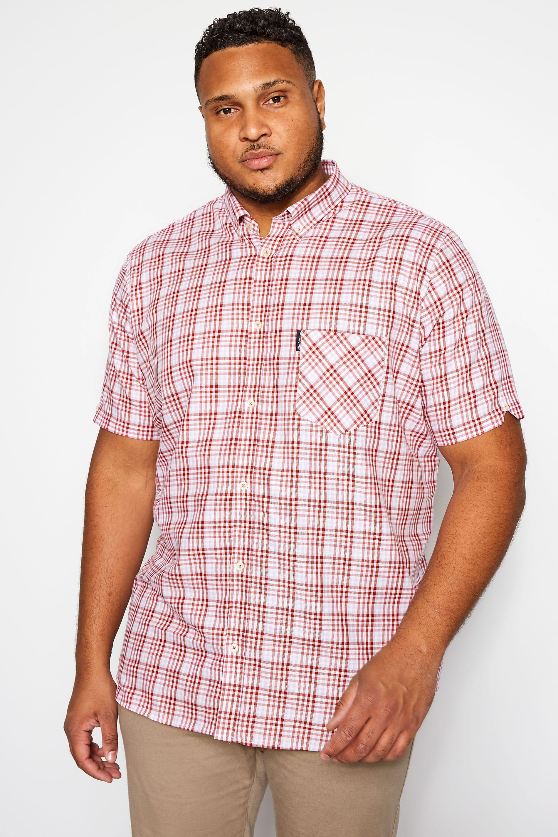 BEN SHERMAN Red & Pink Gingham Check Shirt