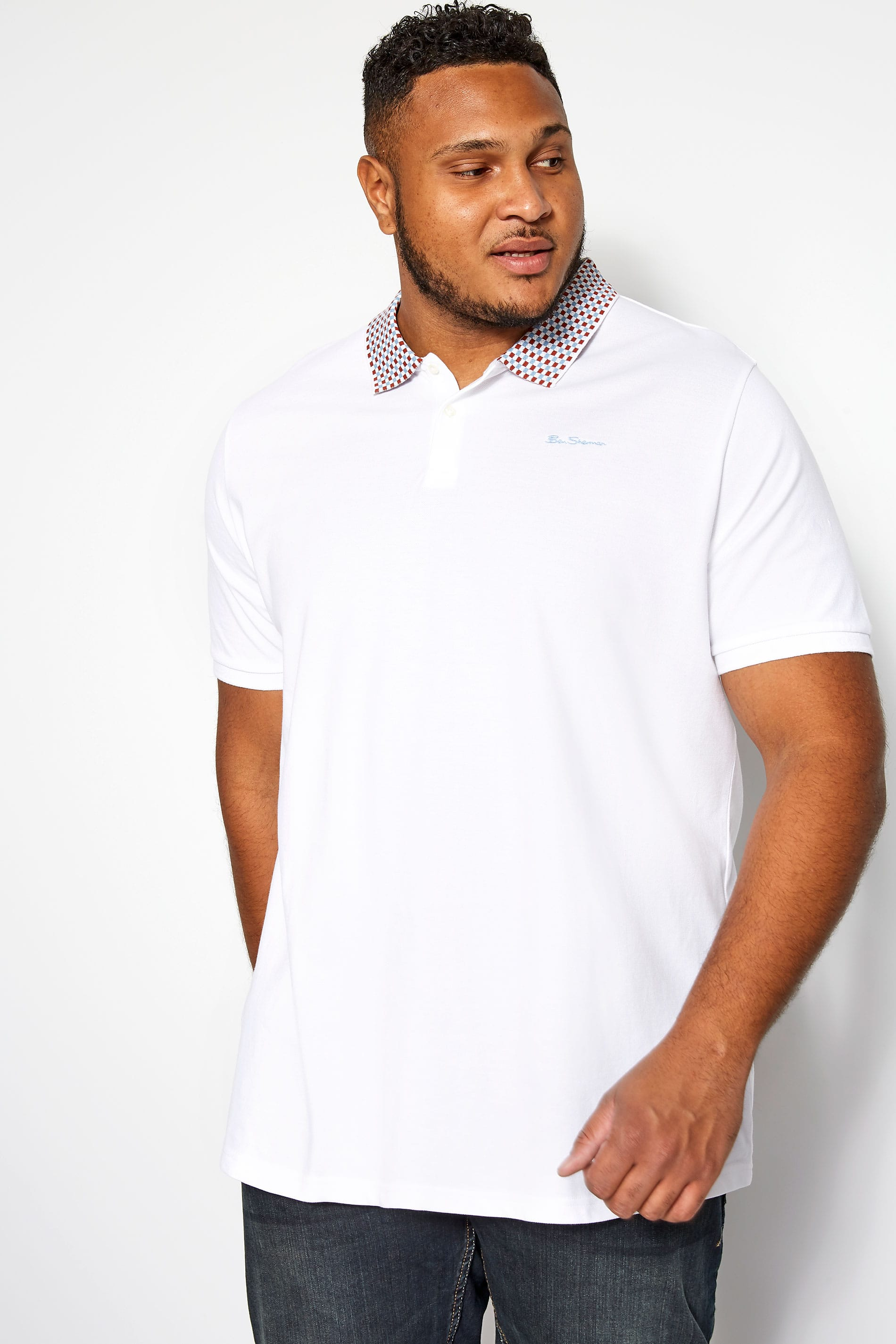 BEN SHERMAN White Checkerboard Polo Shirt