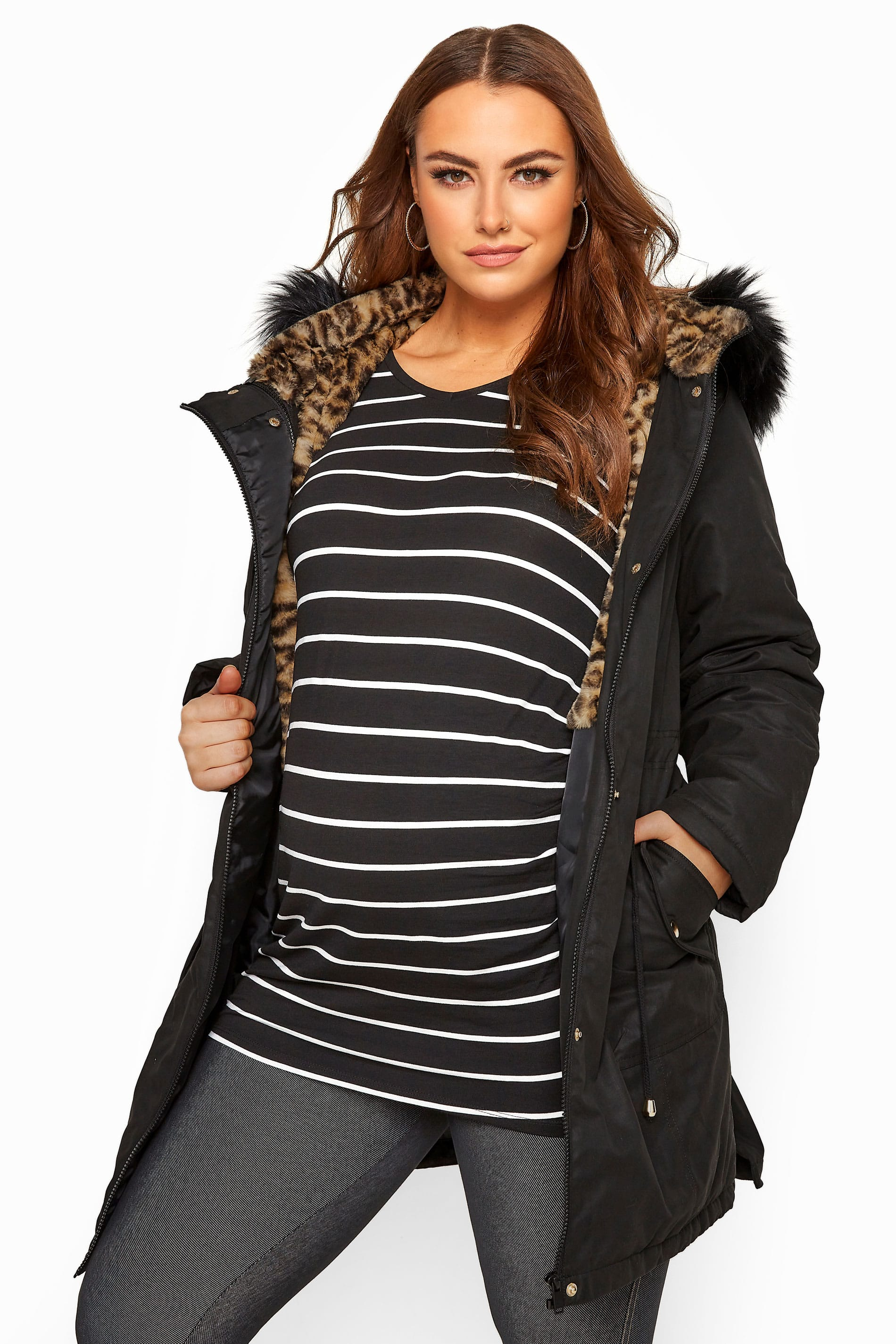 BUMP IT UP MATERNITY Black Animal Print Faux Fur Parka Coat