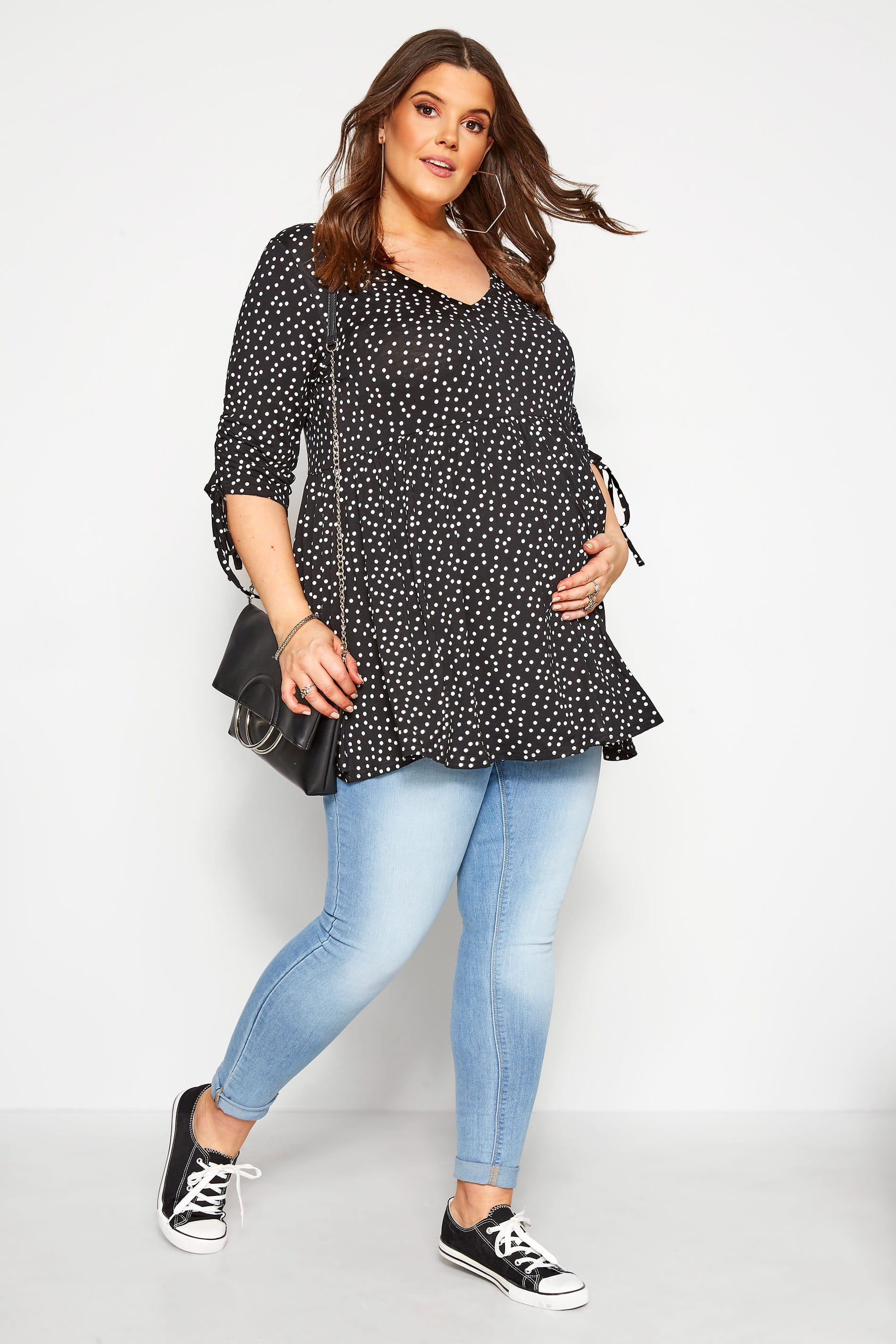 BUMP IT UP MATERNITY Black Polka Dot Smock Top
