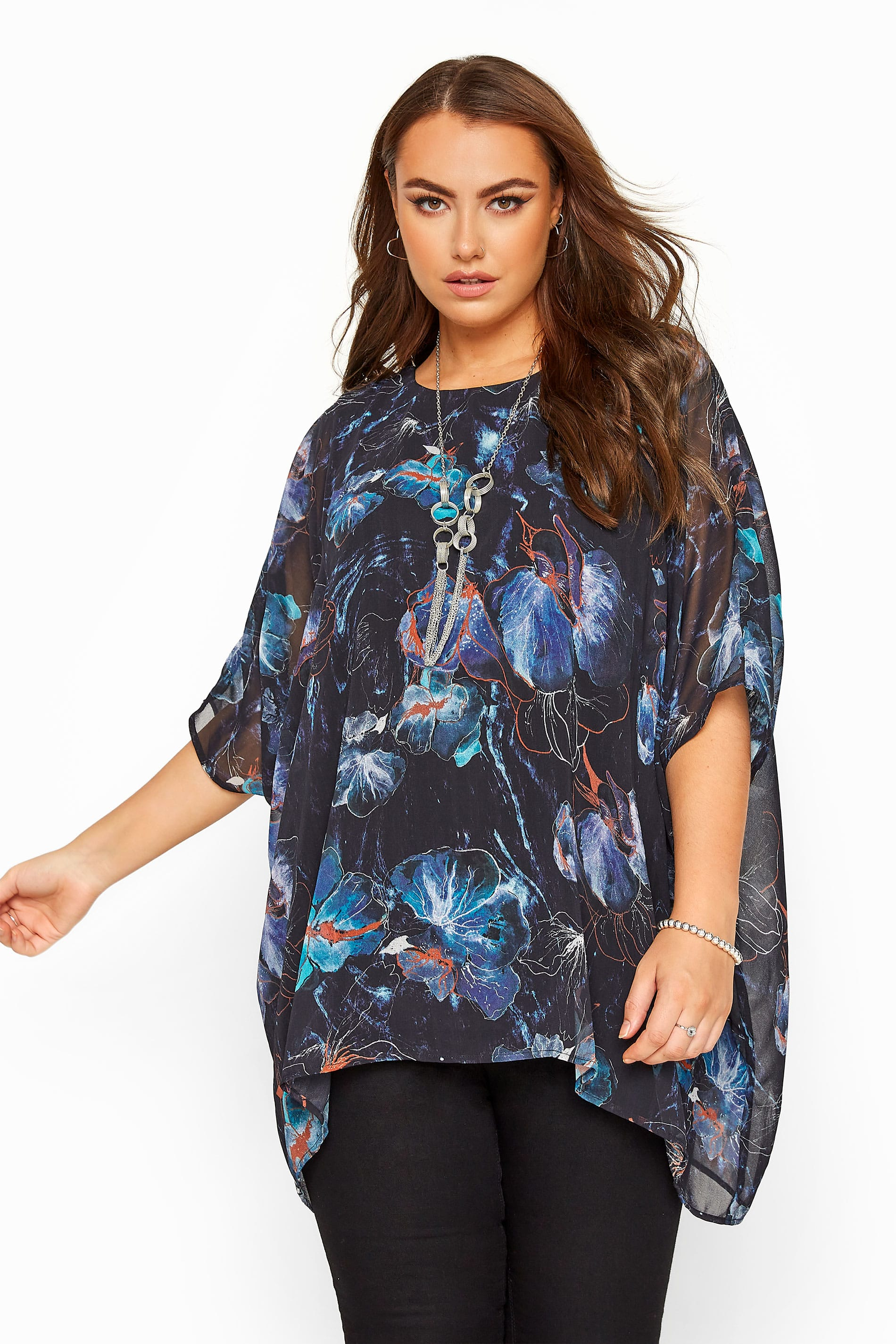 YOURS LONDON Navy Chiffon Floral Cape Top