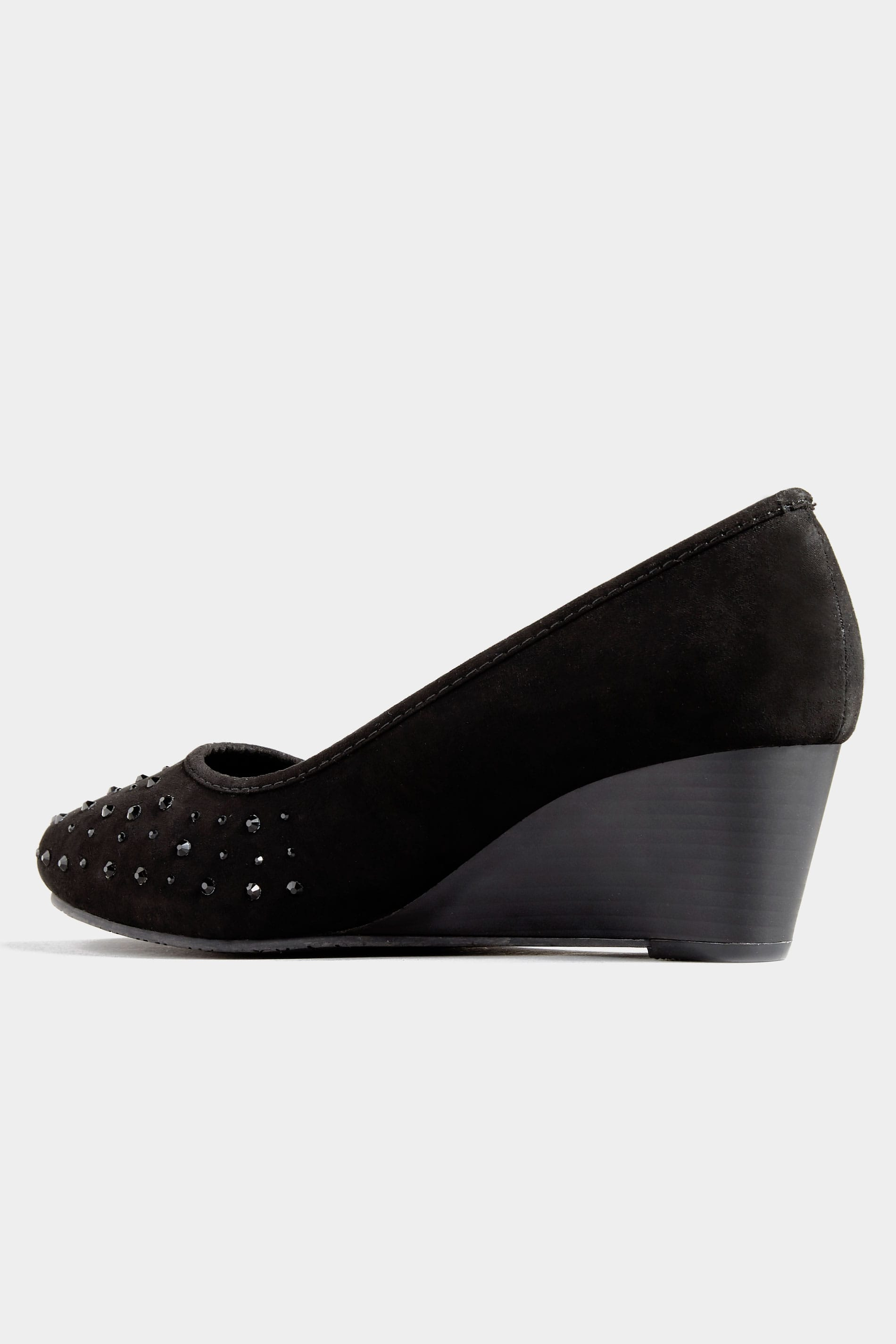 Yours Clothing Wide Fit Women/'s Black Embellished Court Shoes In Extra Wide Fit