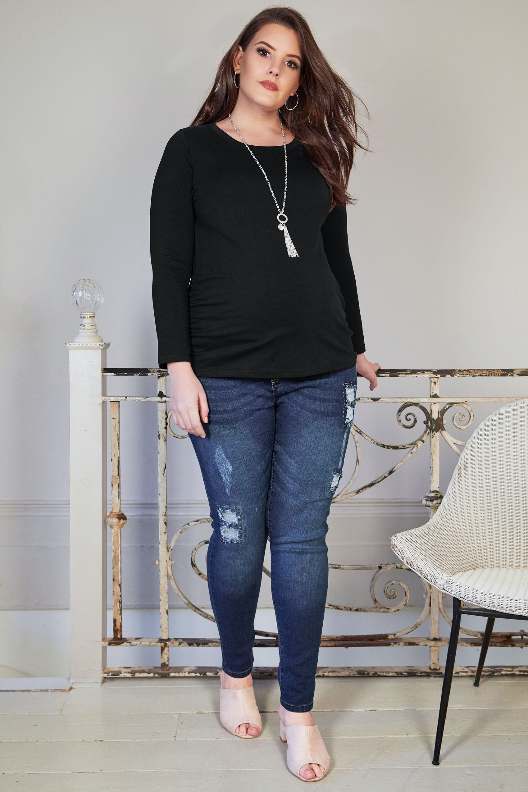 BUMP IT UP MATERNITY Black Cotton Long Sleeved Top Plus