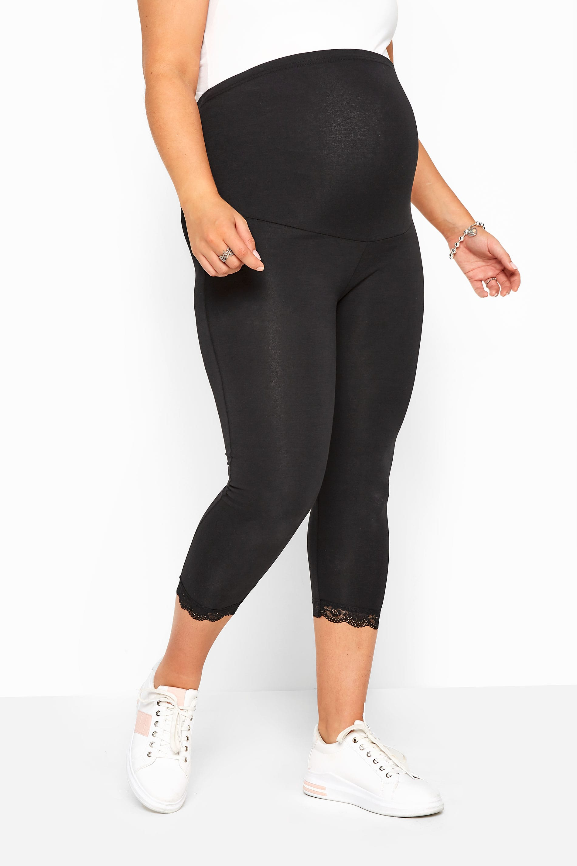 BUMP IT UP MATERNITY Zwarte legging met sierkant