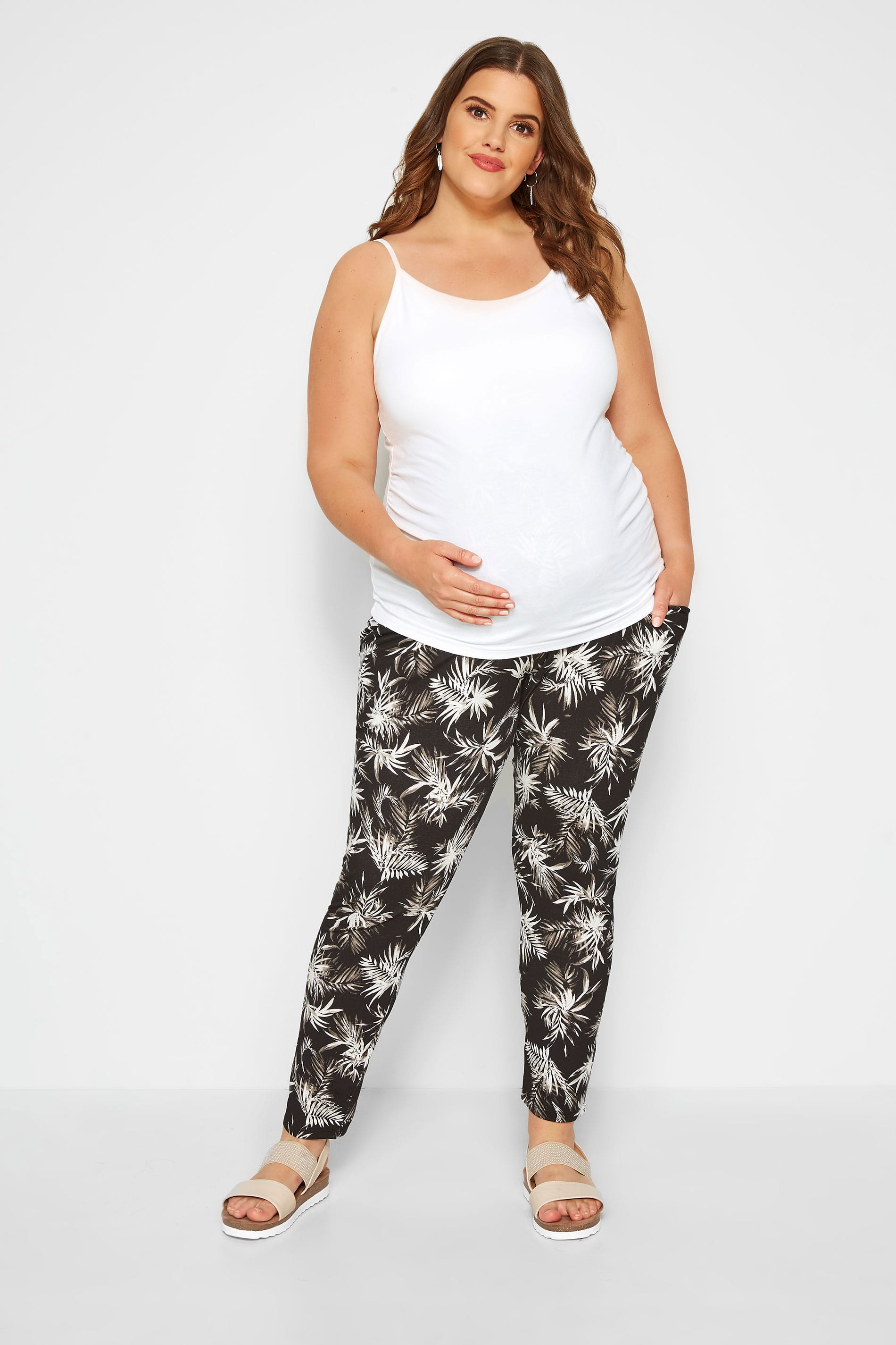 BUMP IT UP MATERNITY Black Tropical Harem Trousers