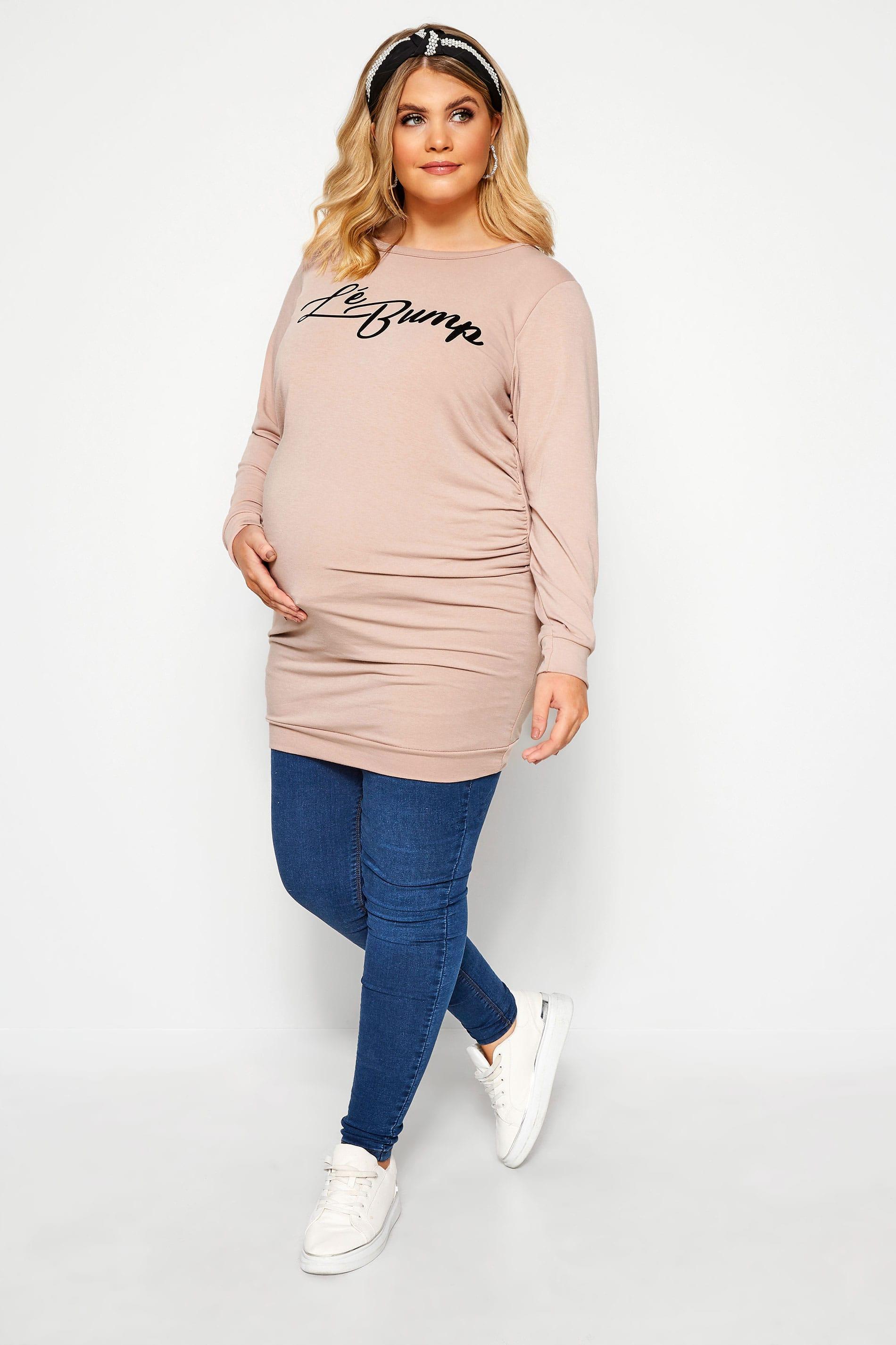 BUMP IT UP MATERNITY Nude 'Lé Bump' Slogan Sweatshirt