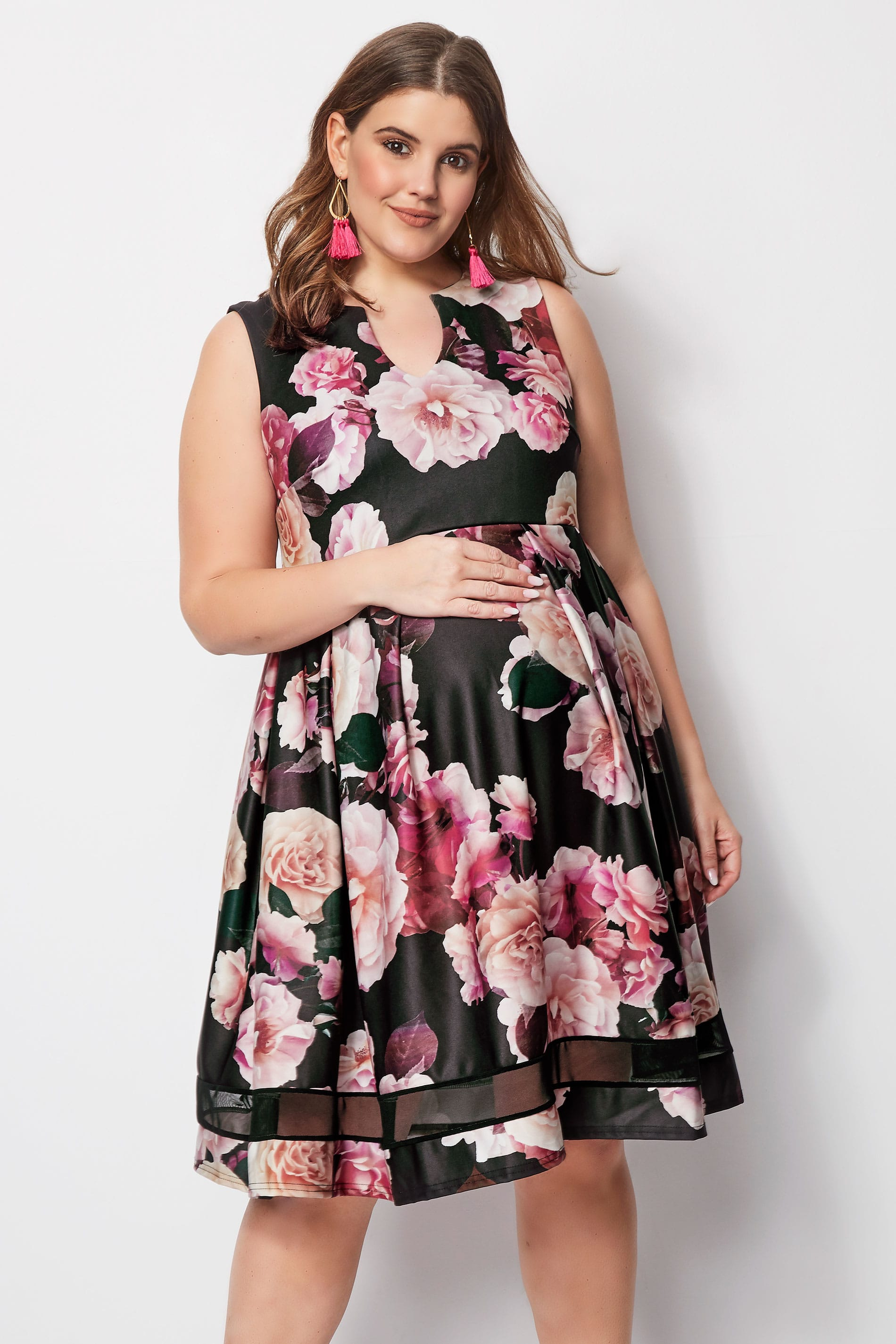 BUMP IT UP MATERNITY Pink Floral Skater Dress