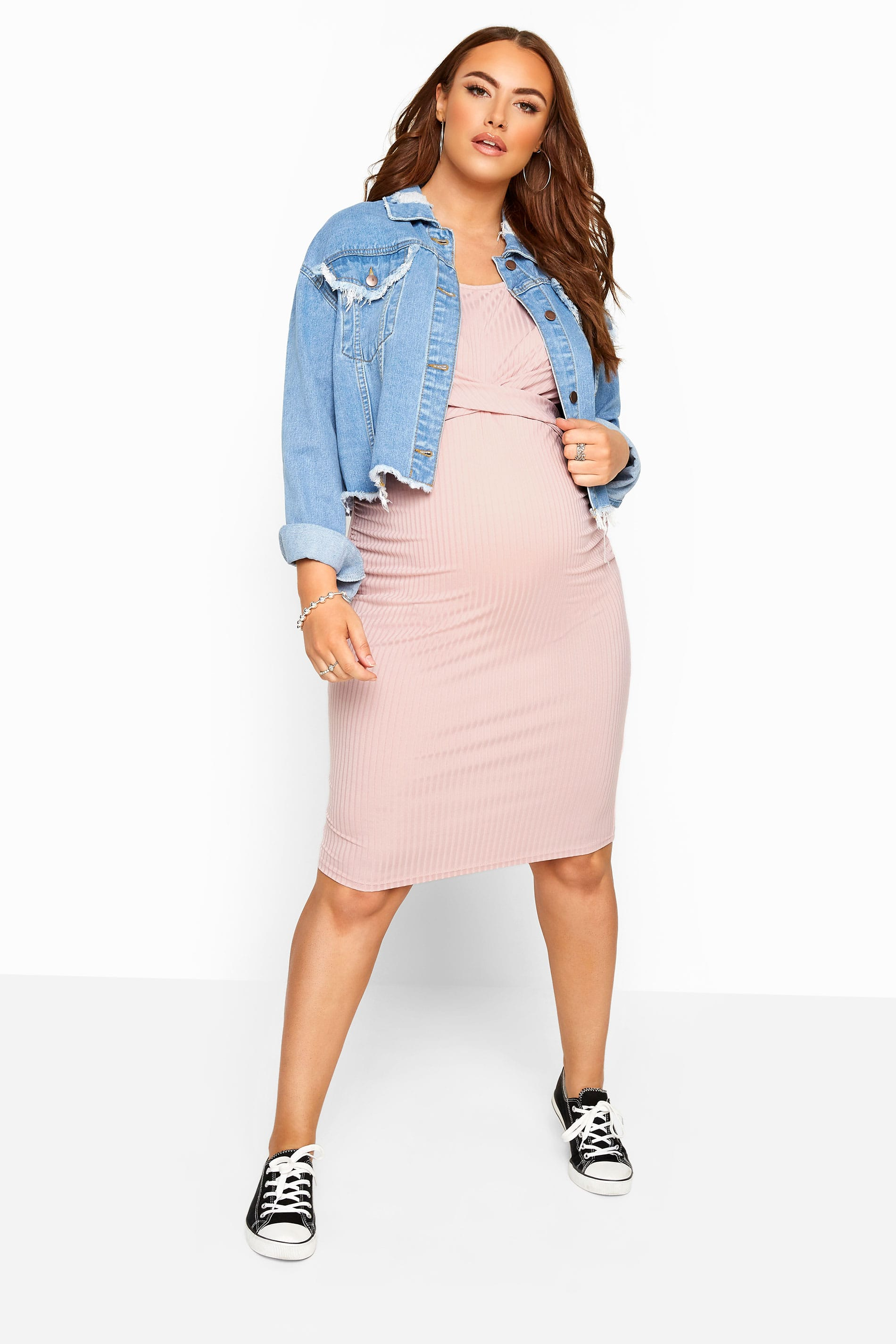 BUMP IT UP MATERNITY - Geribbelde bodycon jurk in roze
