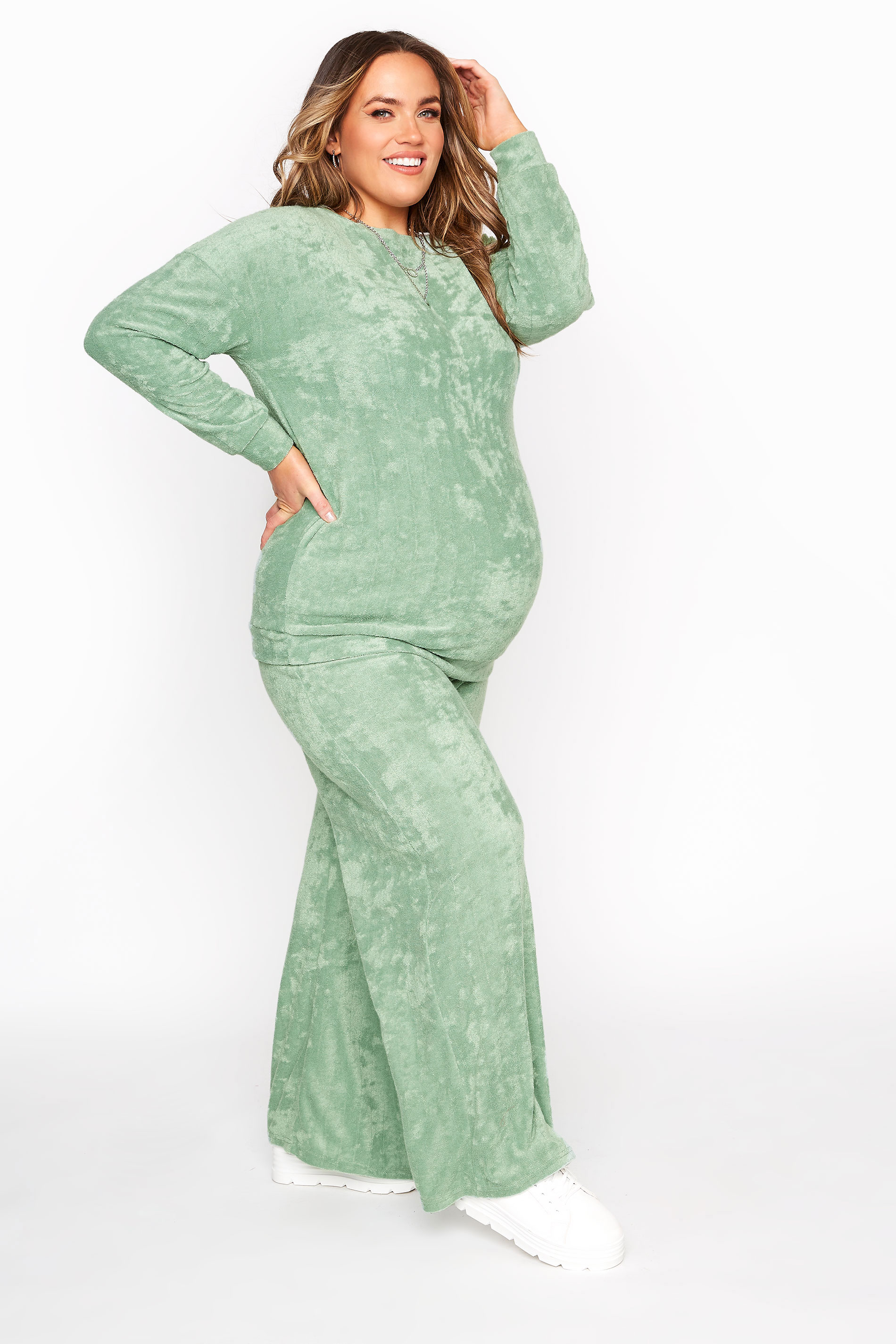 BUMP IT UP MATERNITY Sage Green Flannel Towelling Co-ord Wide Leg Trousers