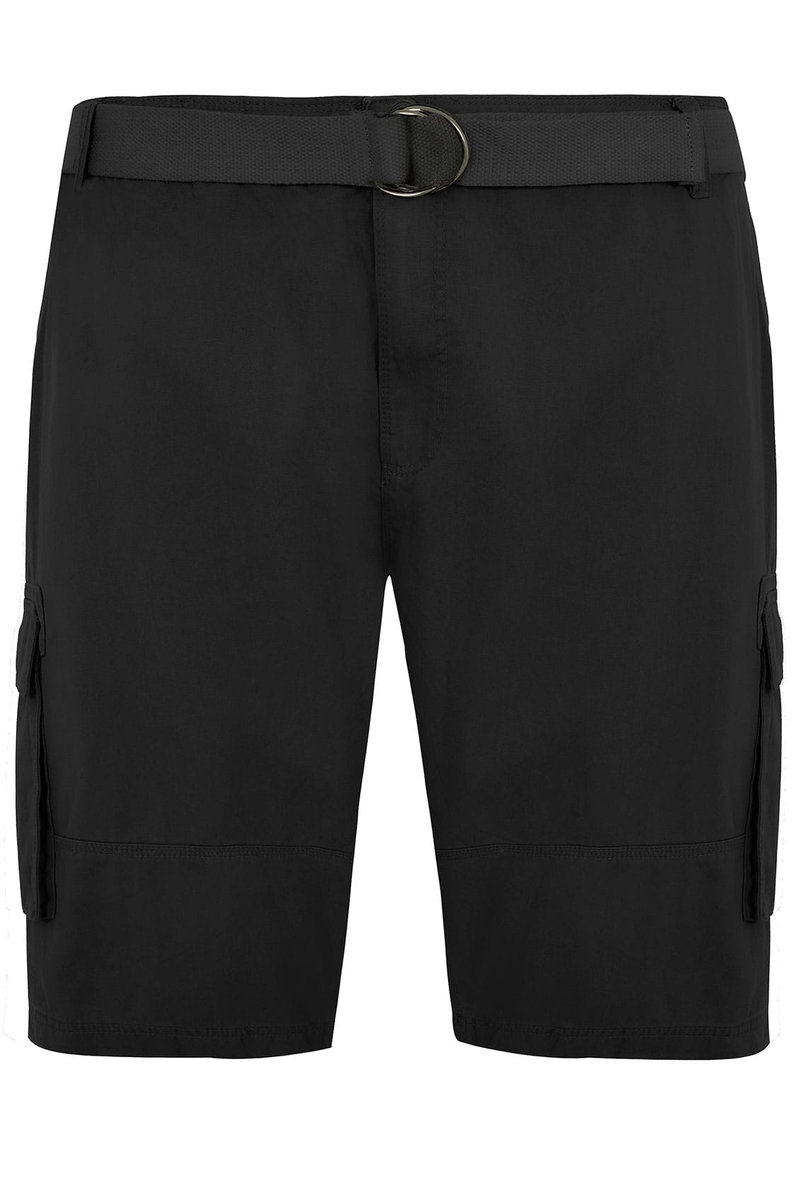 BadRhino Black Cargo Shorts With Canvas Belt