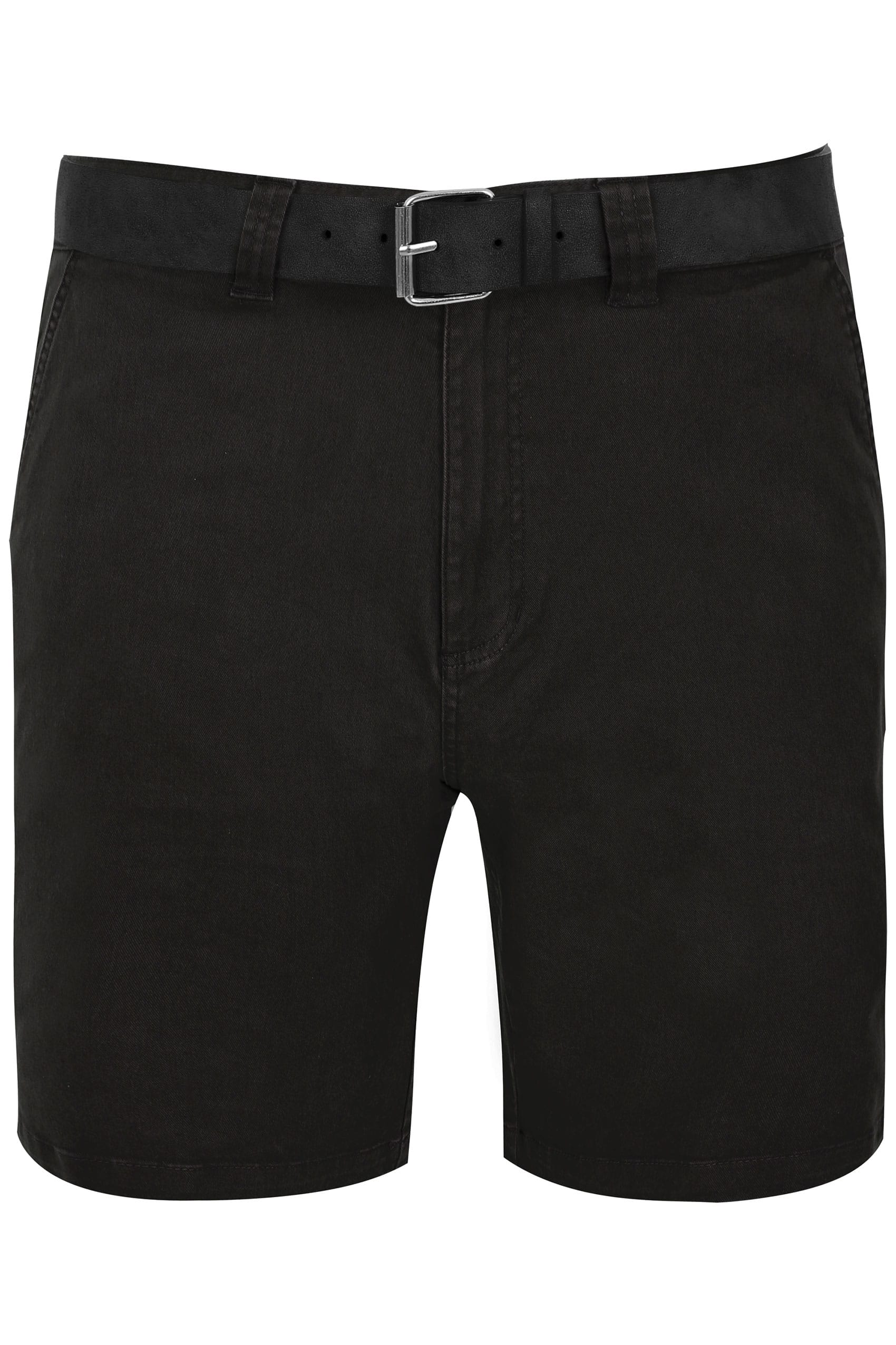 BadRhino Black Five Pocket Chino Shorts With Belt