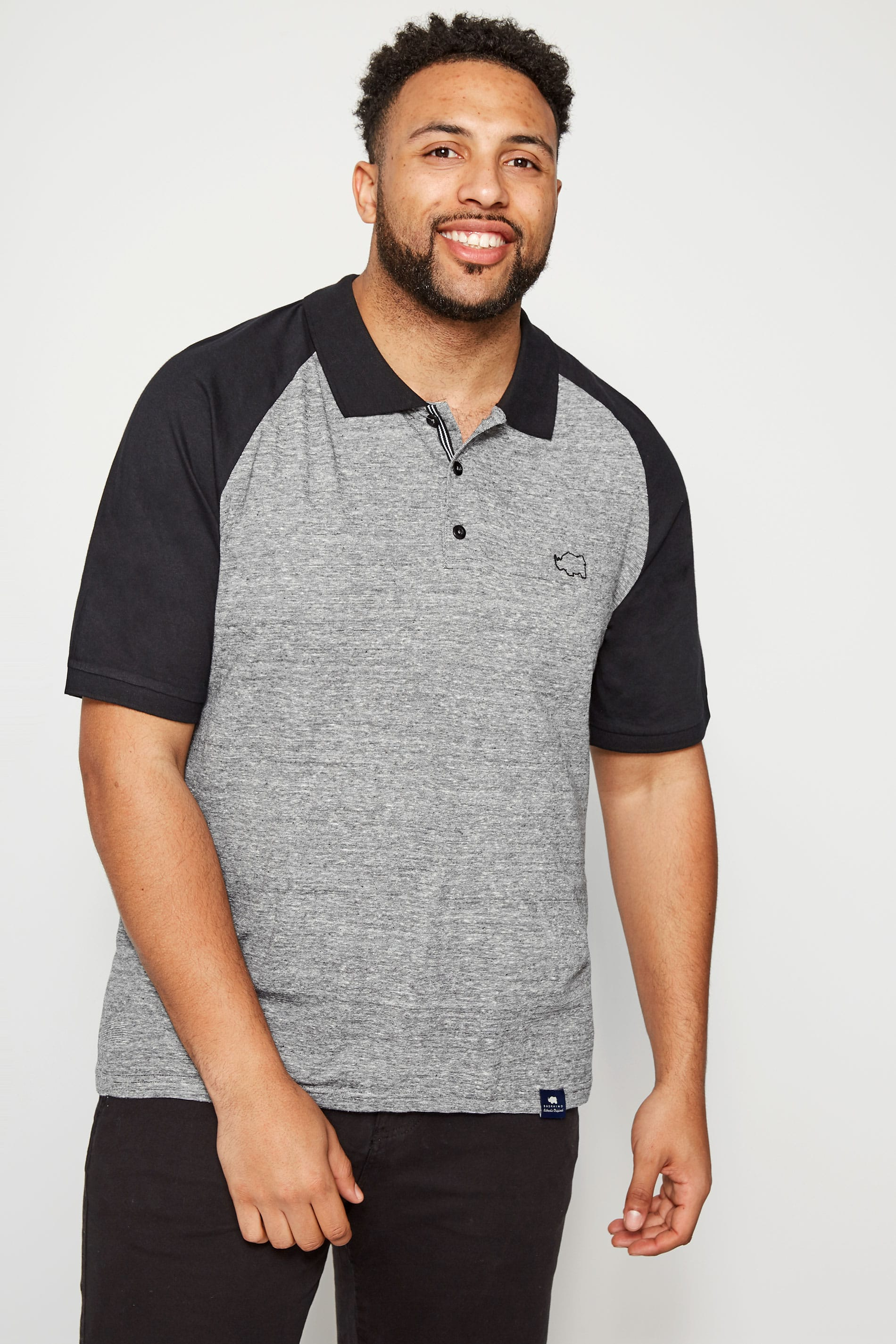 BadRhino Black & Grey Striped Raglan Polo Shirt