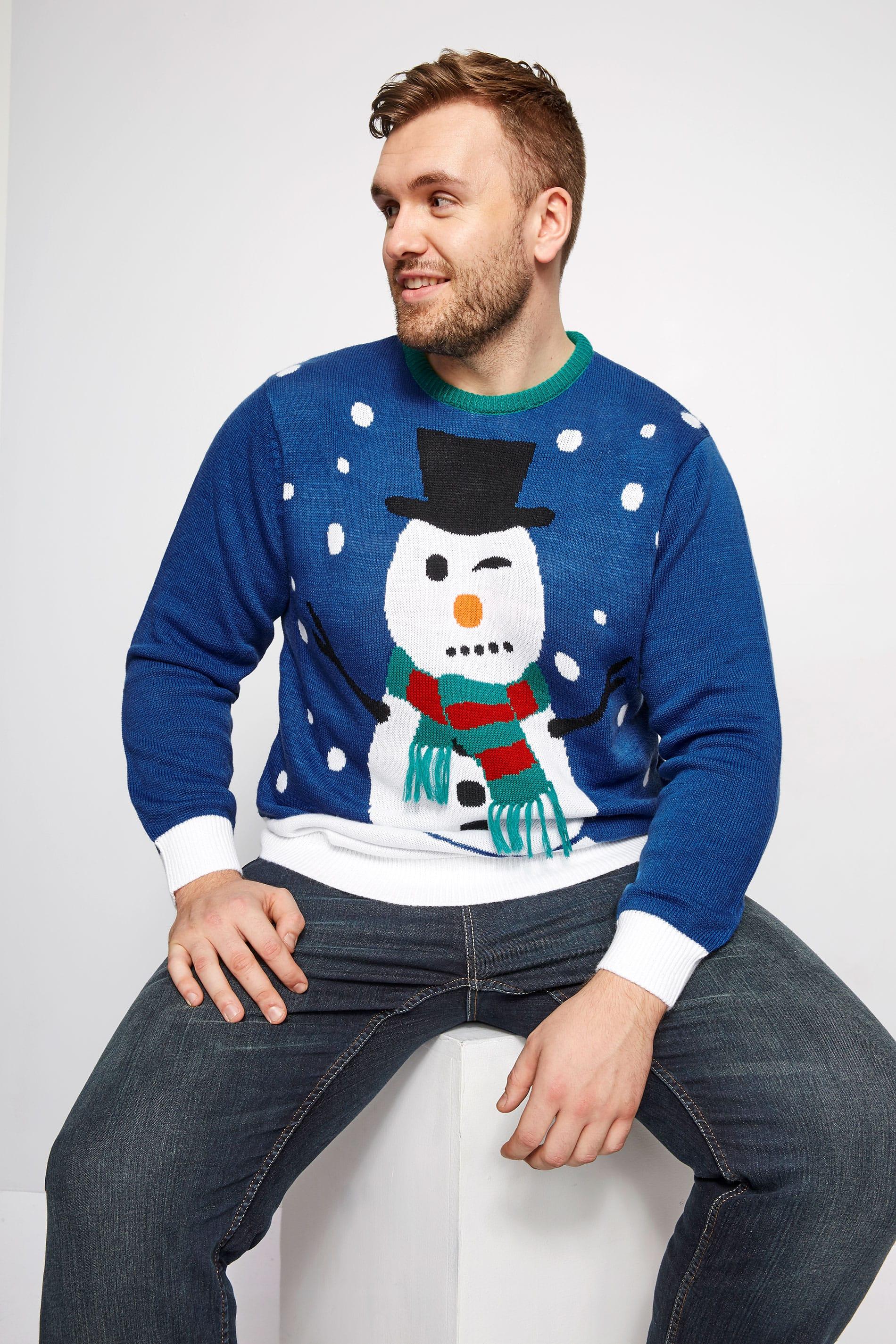 BadRhino Blue Christmas Snowman Knitted Jumper