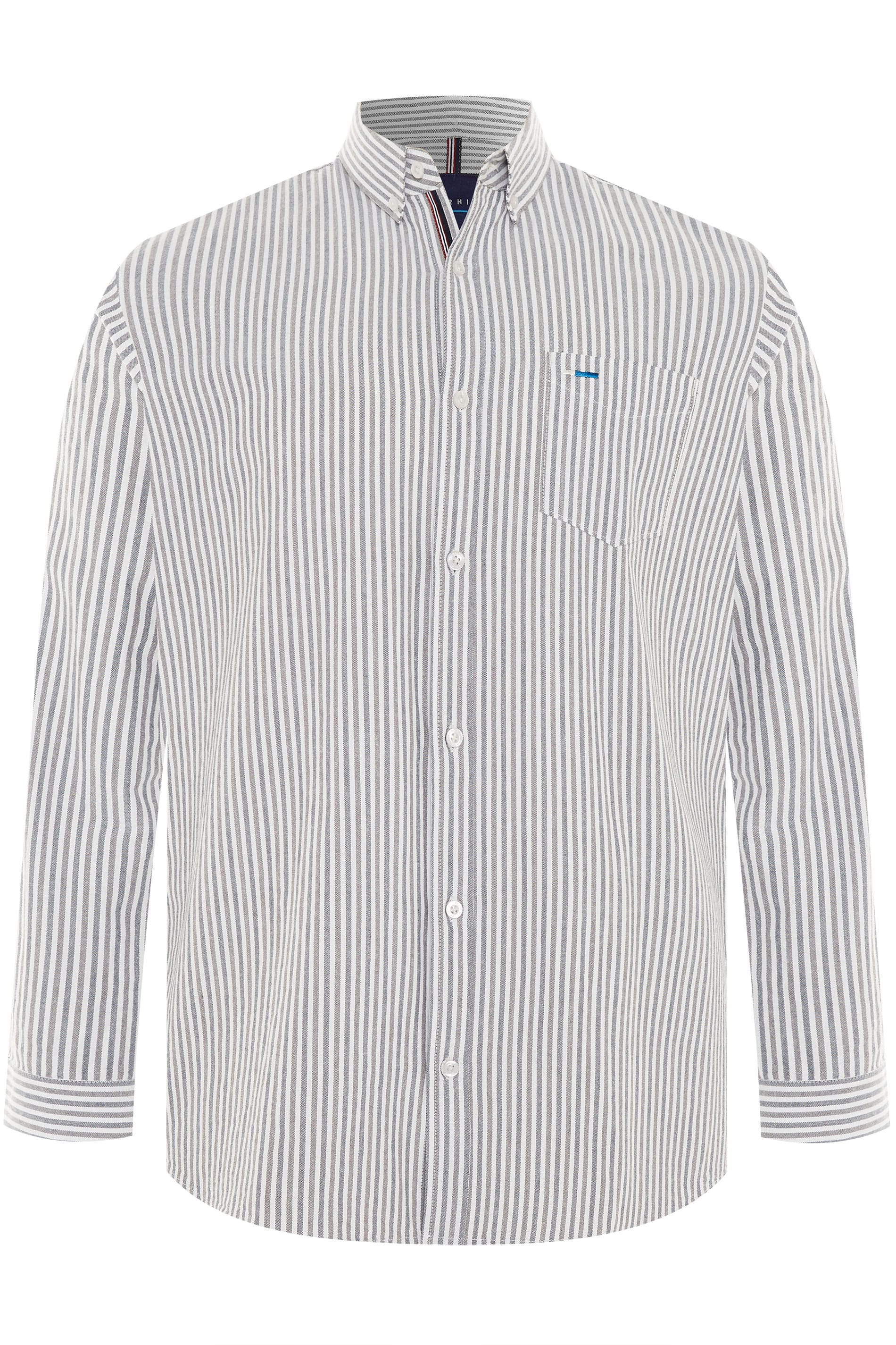 BadRhino Blue & Grey Striped Long Sleeved Oxford Shirt