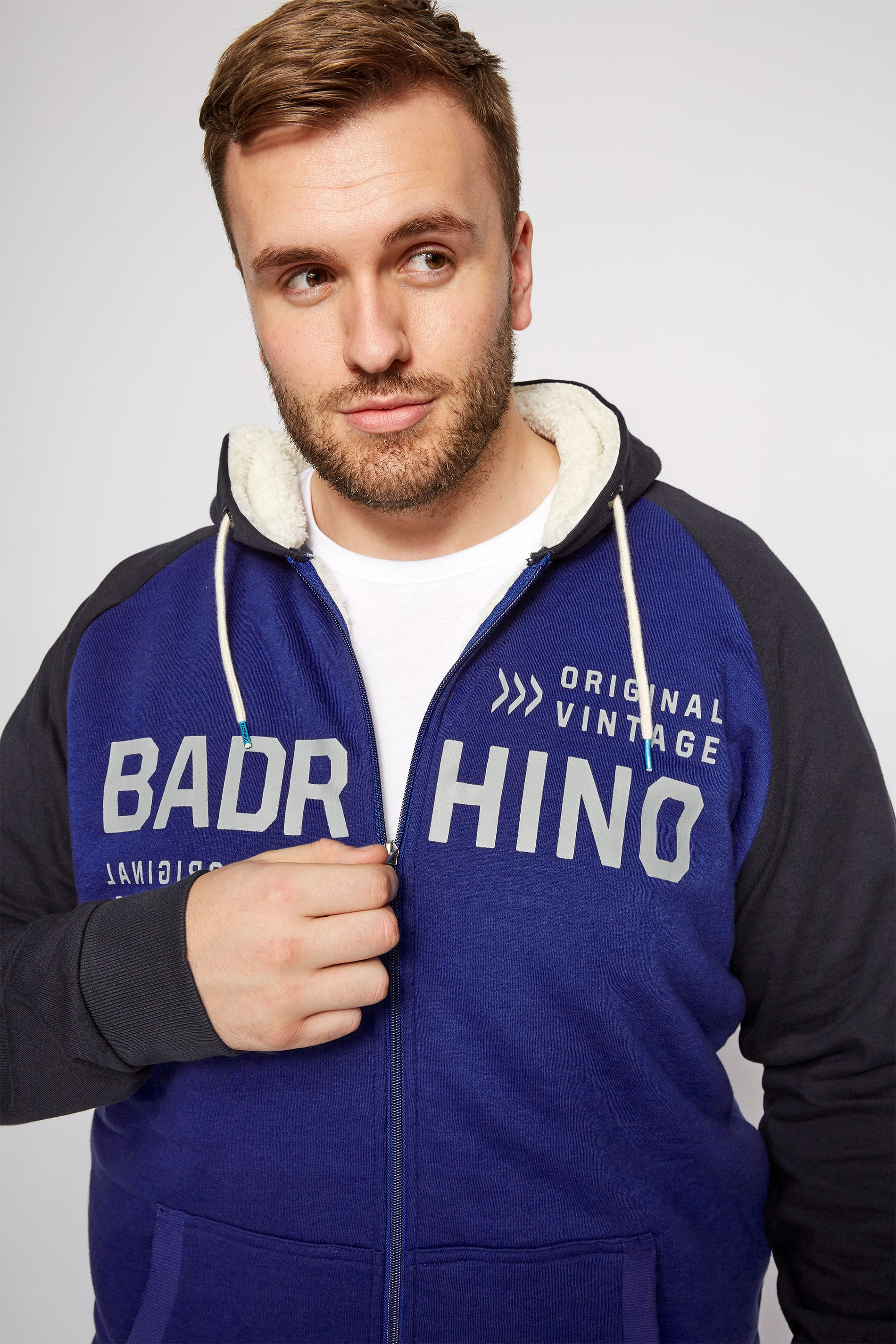 BadRhino Blue Sherpa Lined Zip Through Hoodie
