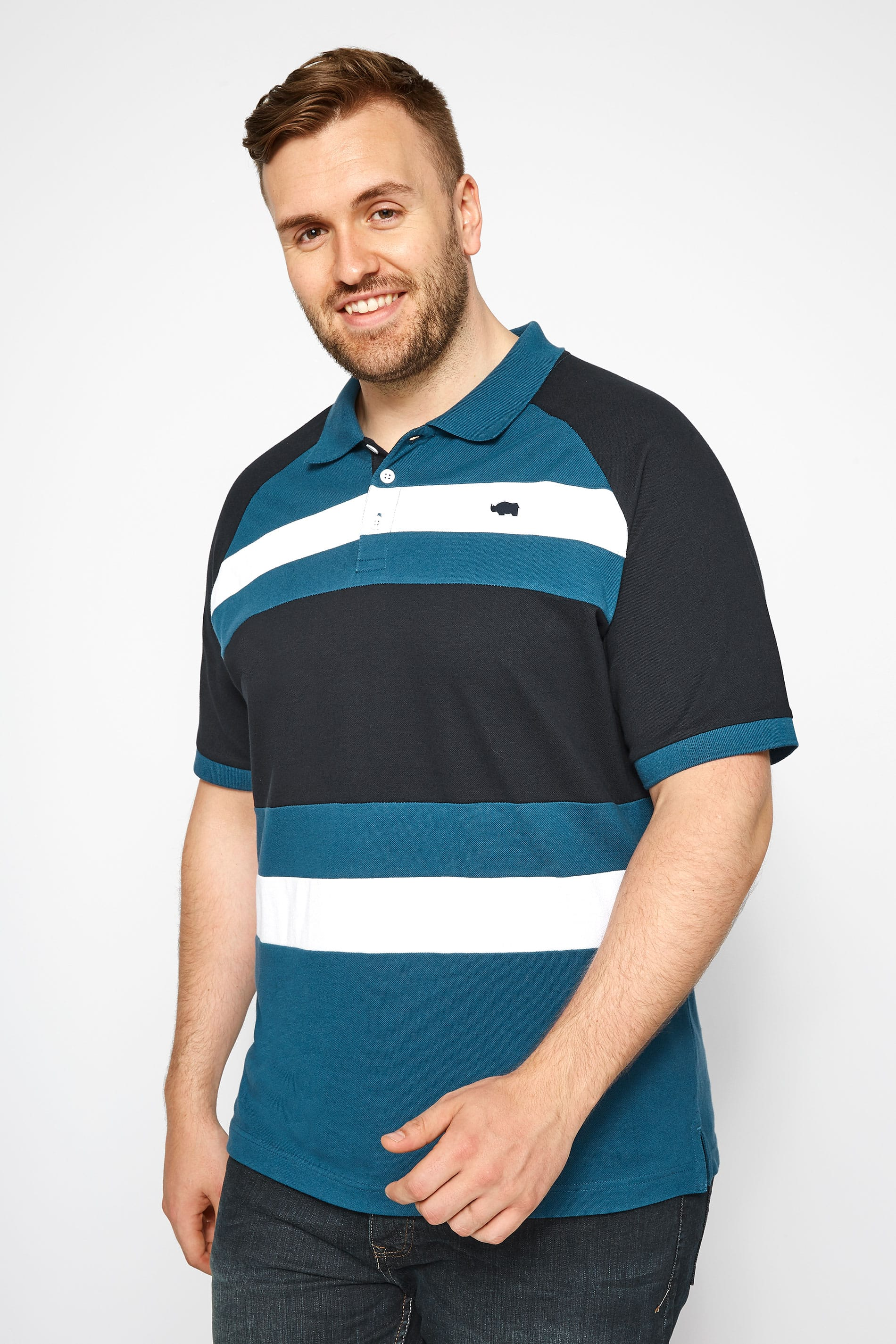 BadRhino Blue & White Striped Polo Shirt