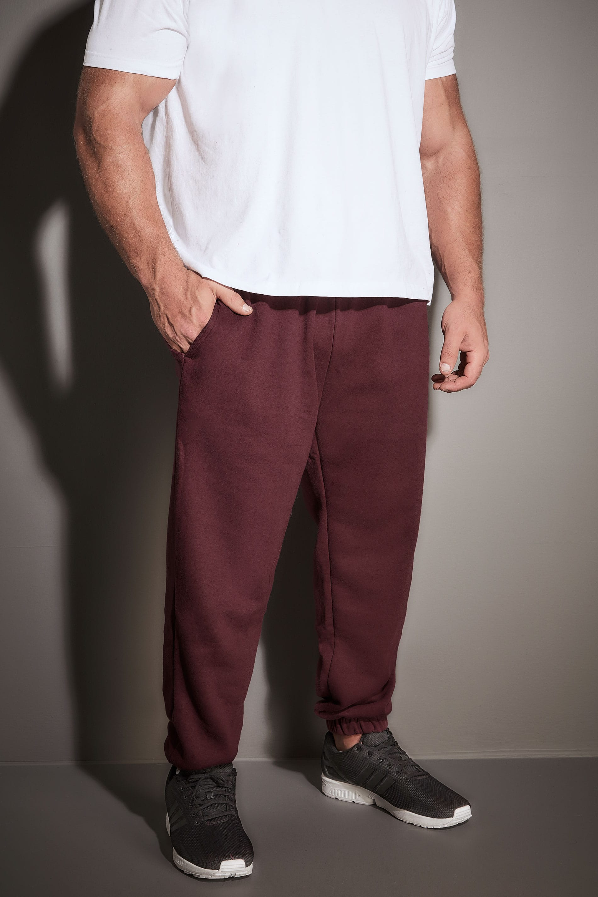 BadRhino Burgundy Basic Sweat Joggers With Pockets