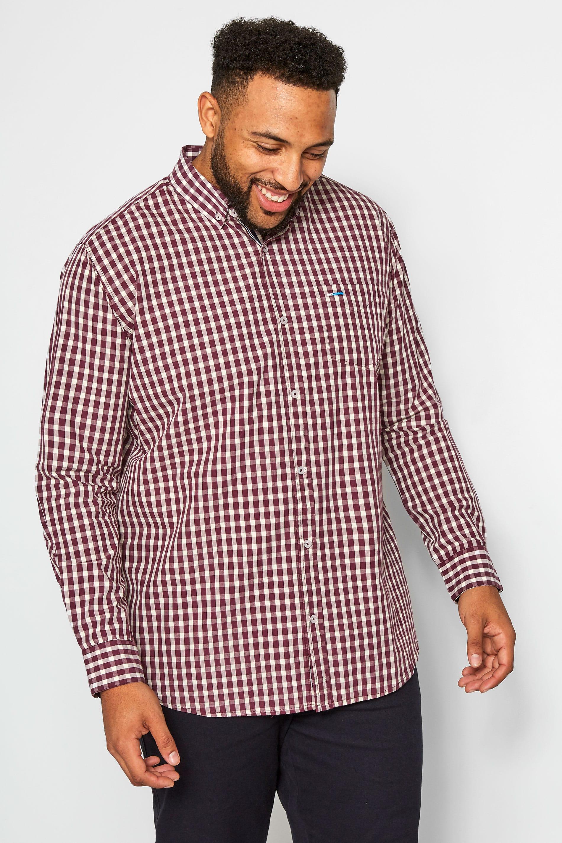 BadRhino Burgundy Gingham Check Shirt