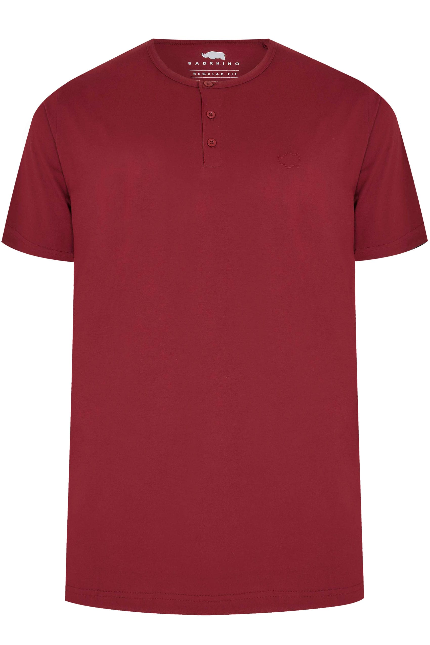 BadRhino Burgundy Short Sleeve Grandad T-Shirt