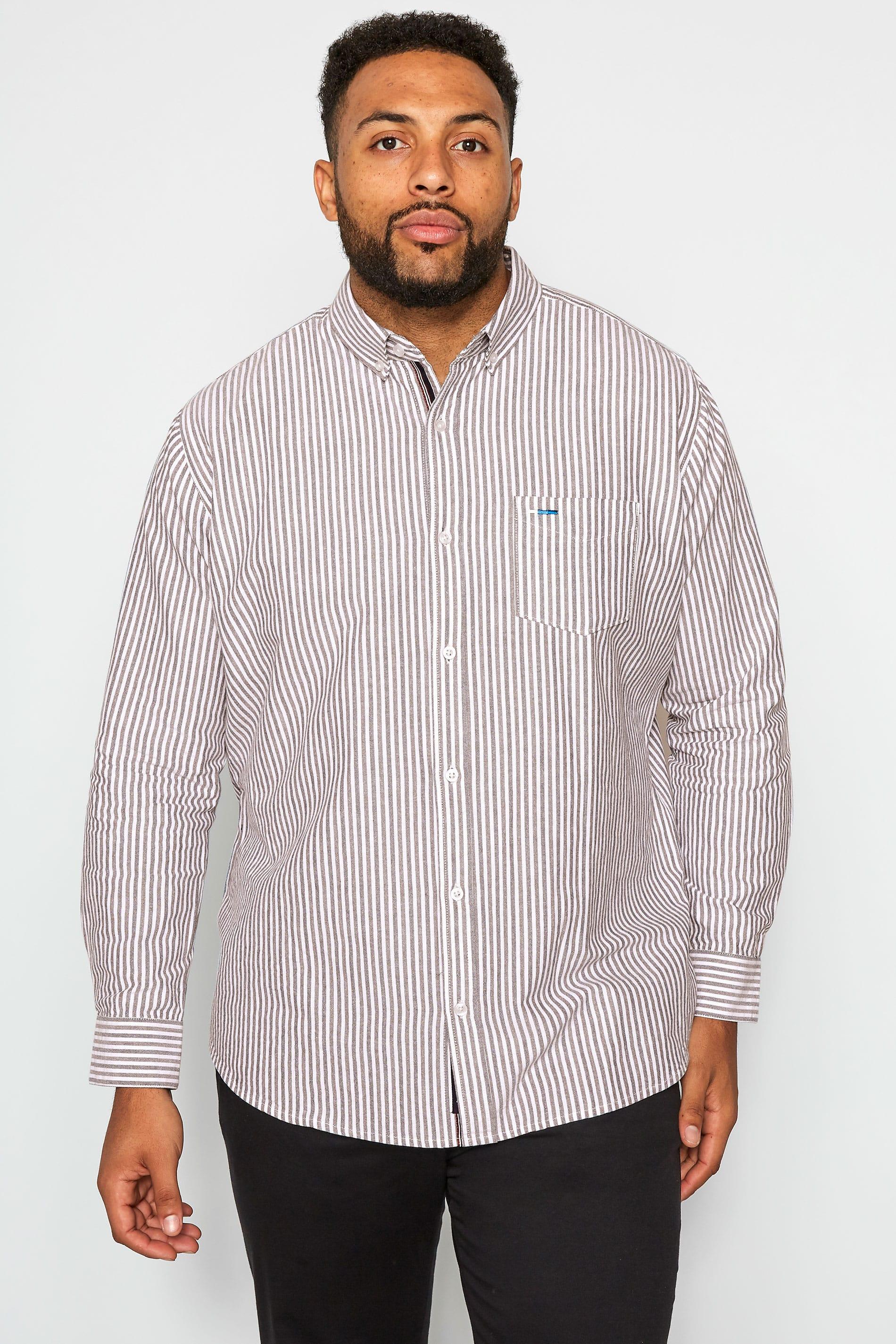 BadRhino Streifen-Hemd mit langen Ärmeln - Weinrot/Weiß