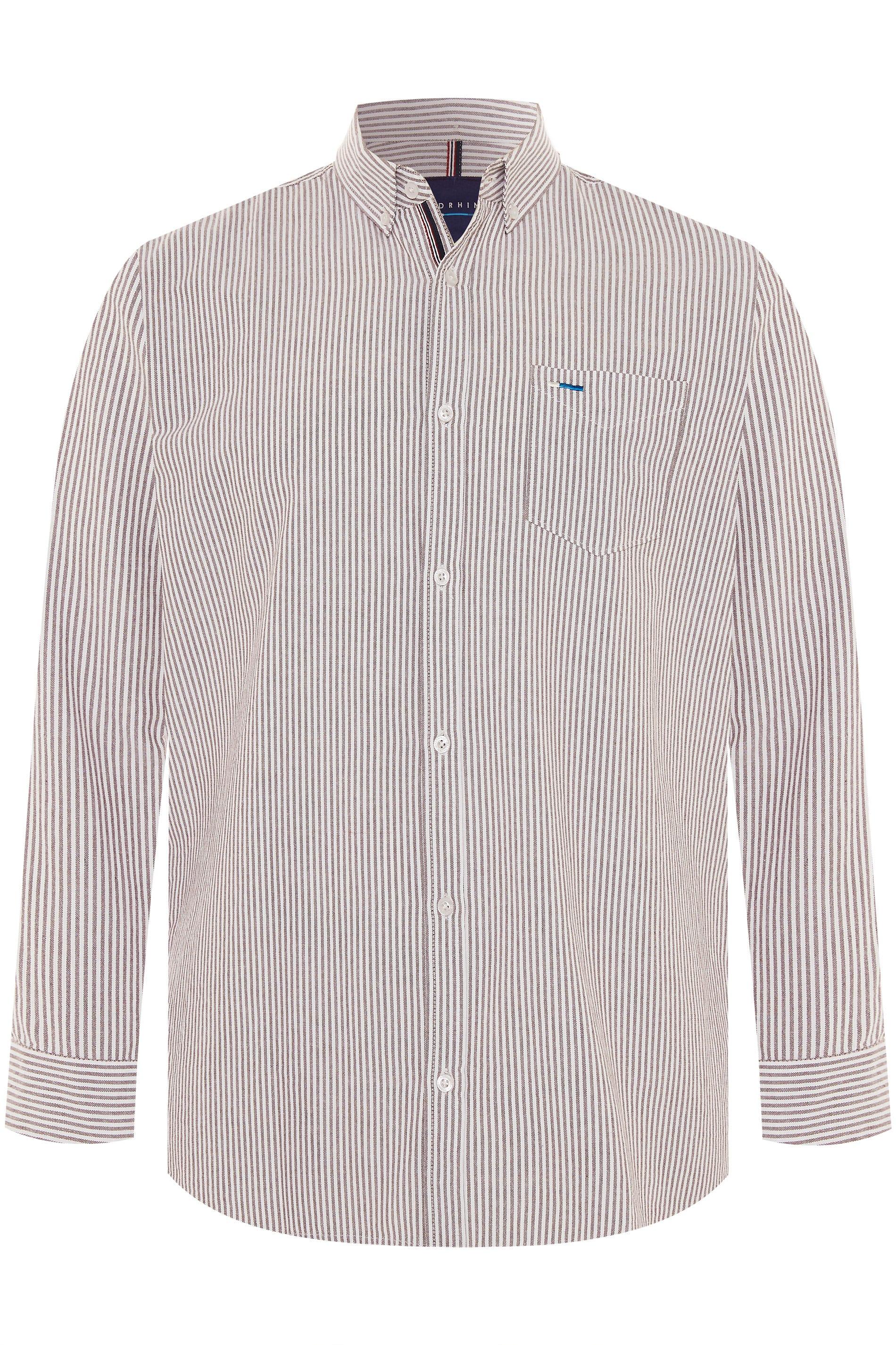 BadRhino Burgundy Striped Long Sleeved Oxford Shirt