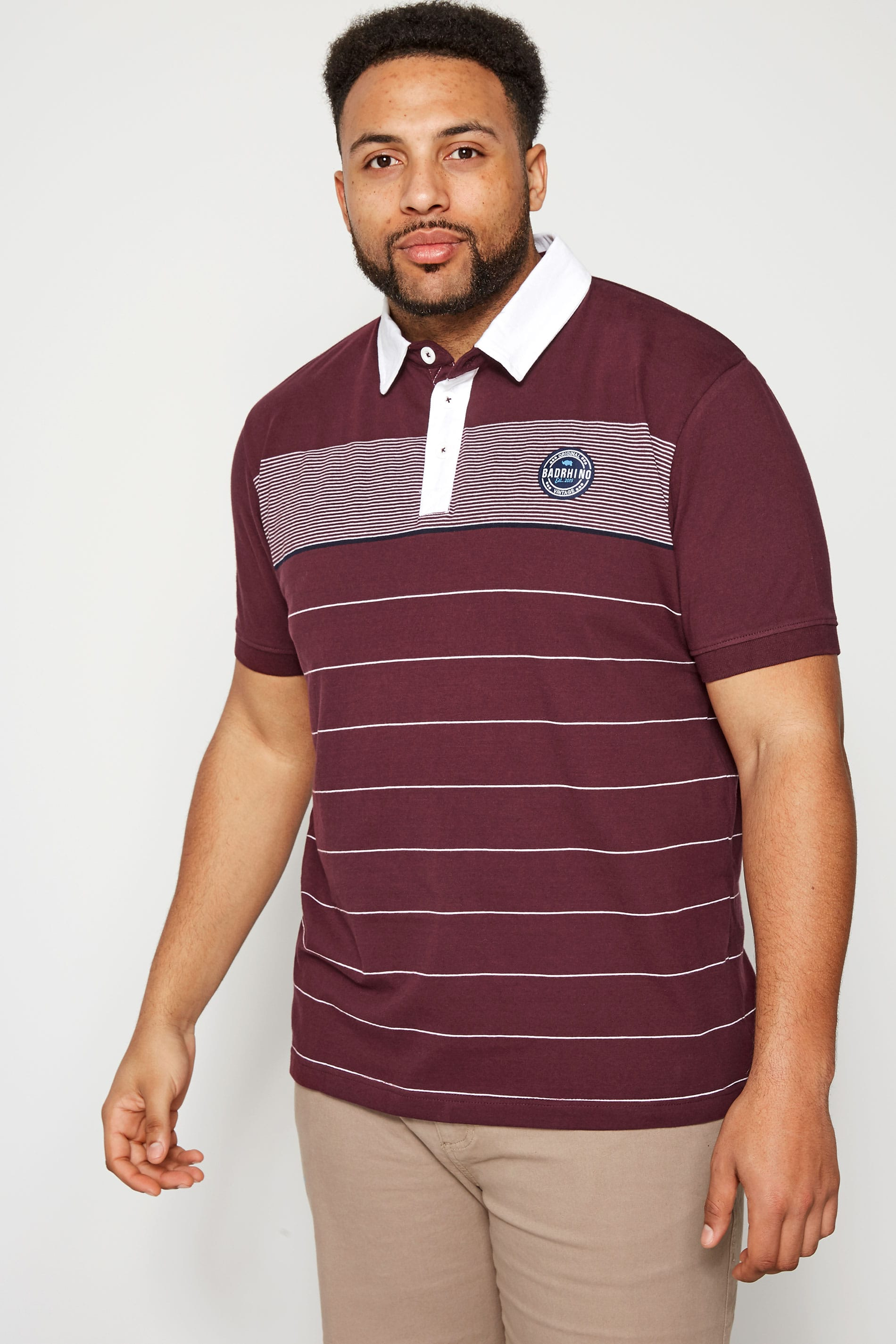 BadRhino Burgundy Striped Woven Collar Polo Shirt