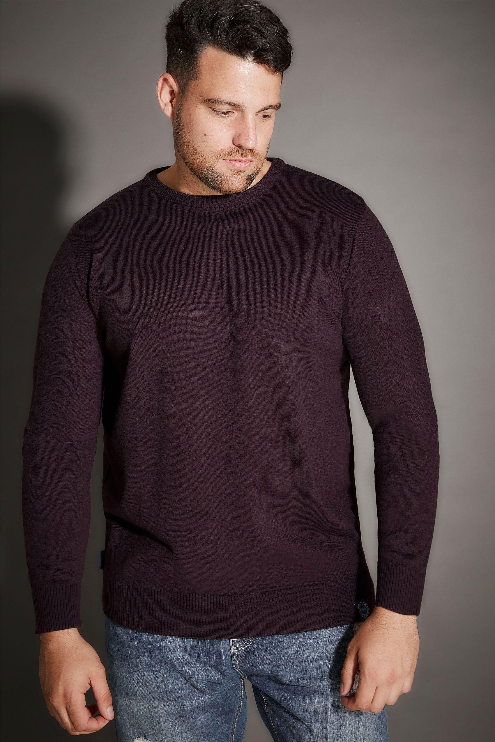 BadRhino Dark Purple Crew Neck Fine Knit Jumper