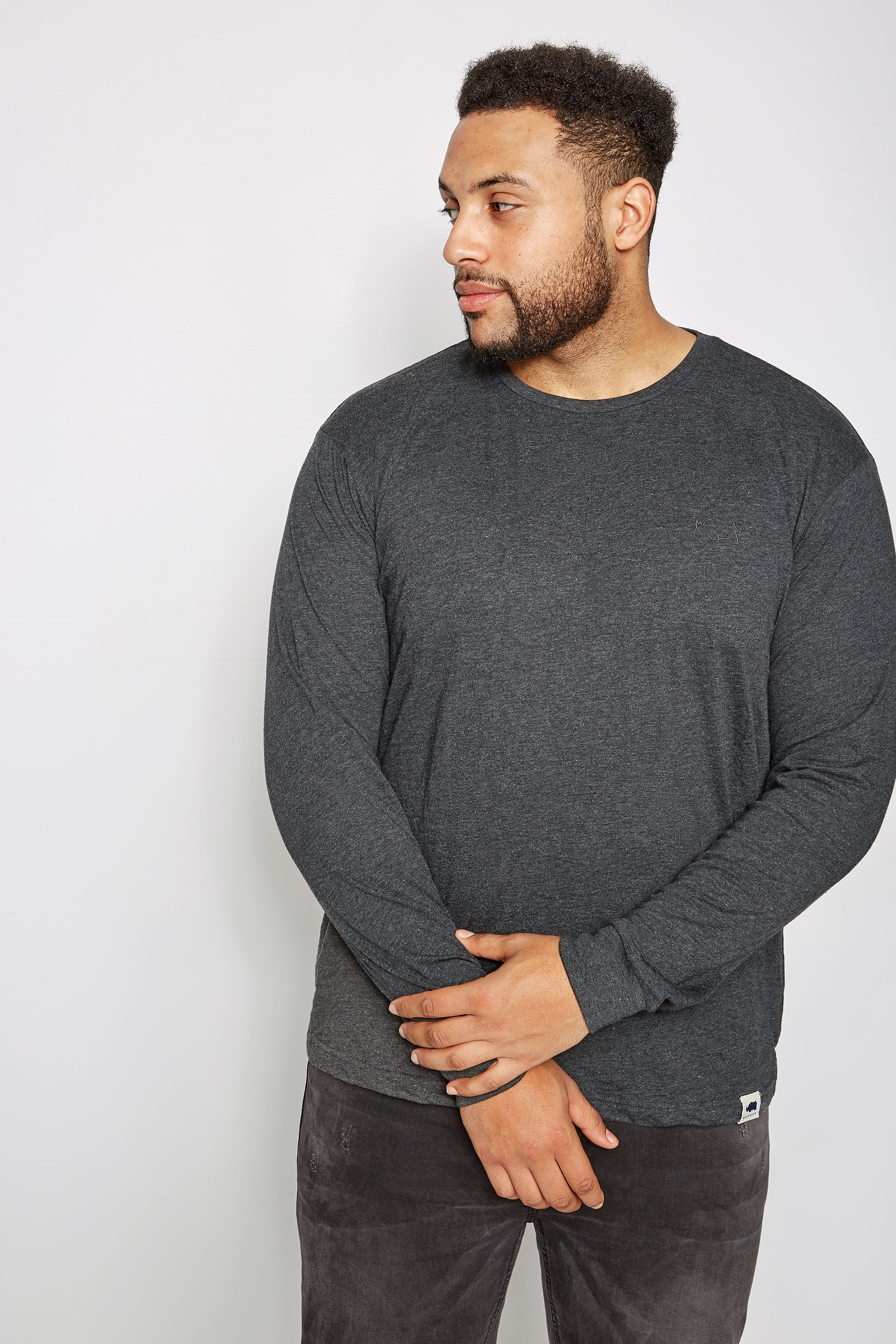 BadRhino Grey Marl Long Sleeve Crew Neck T-Shirt