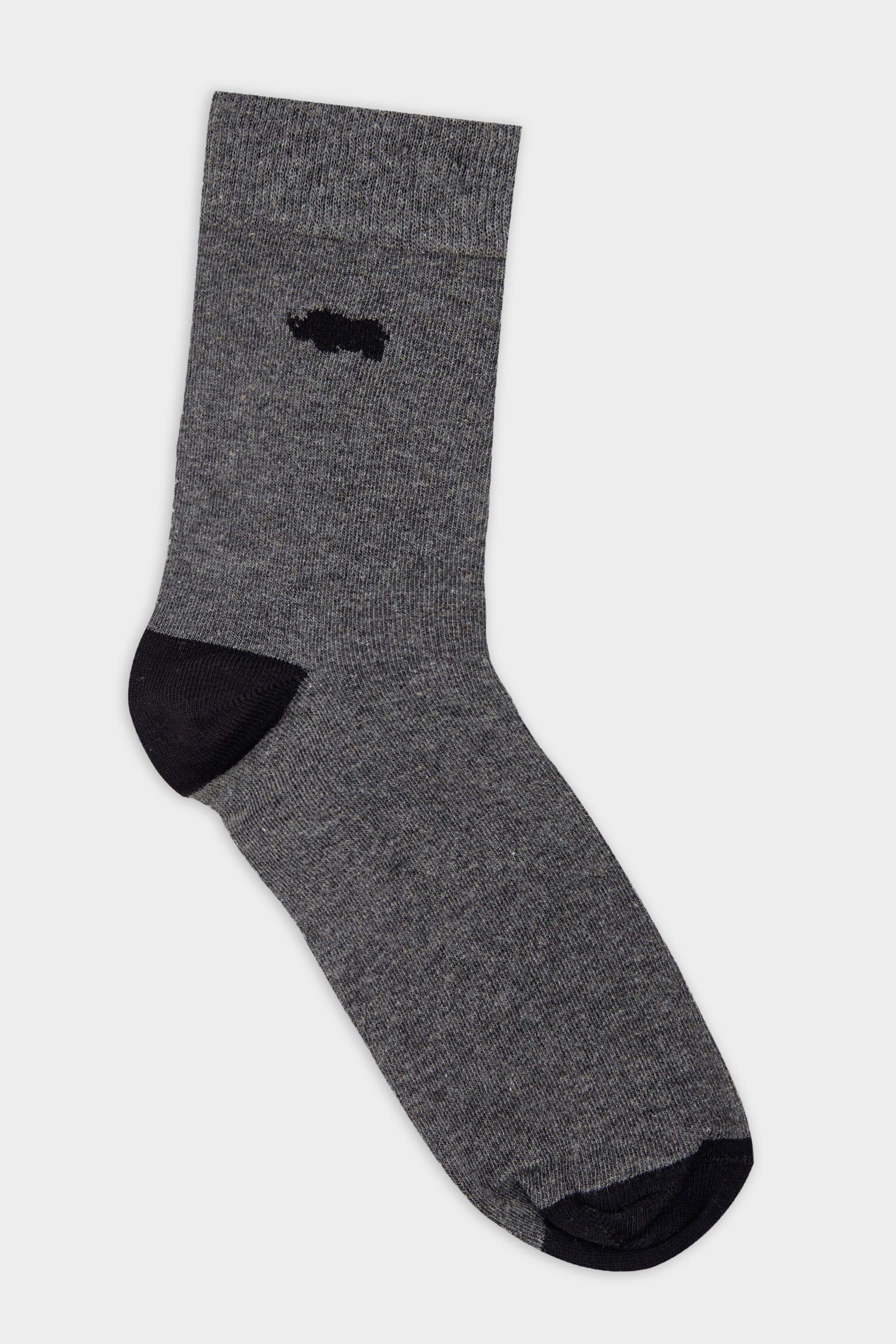 BadRhino Grey Socks With Black Contrast Heel & Toe