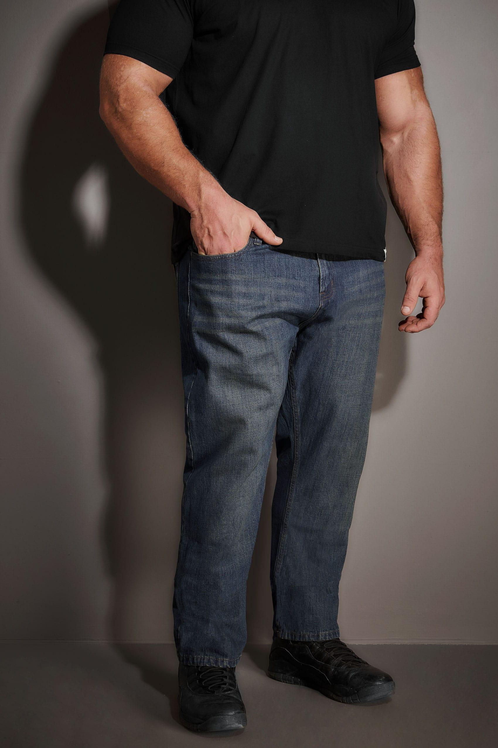 BadRhino Indigo Denim Vintage Wash Straight Leg Jeans With Light Brown Belt