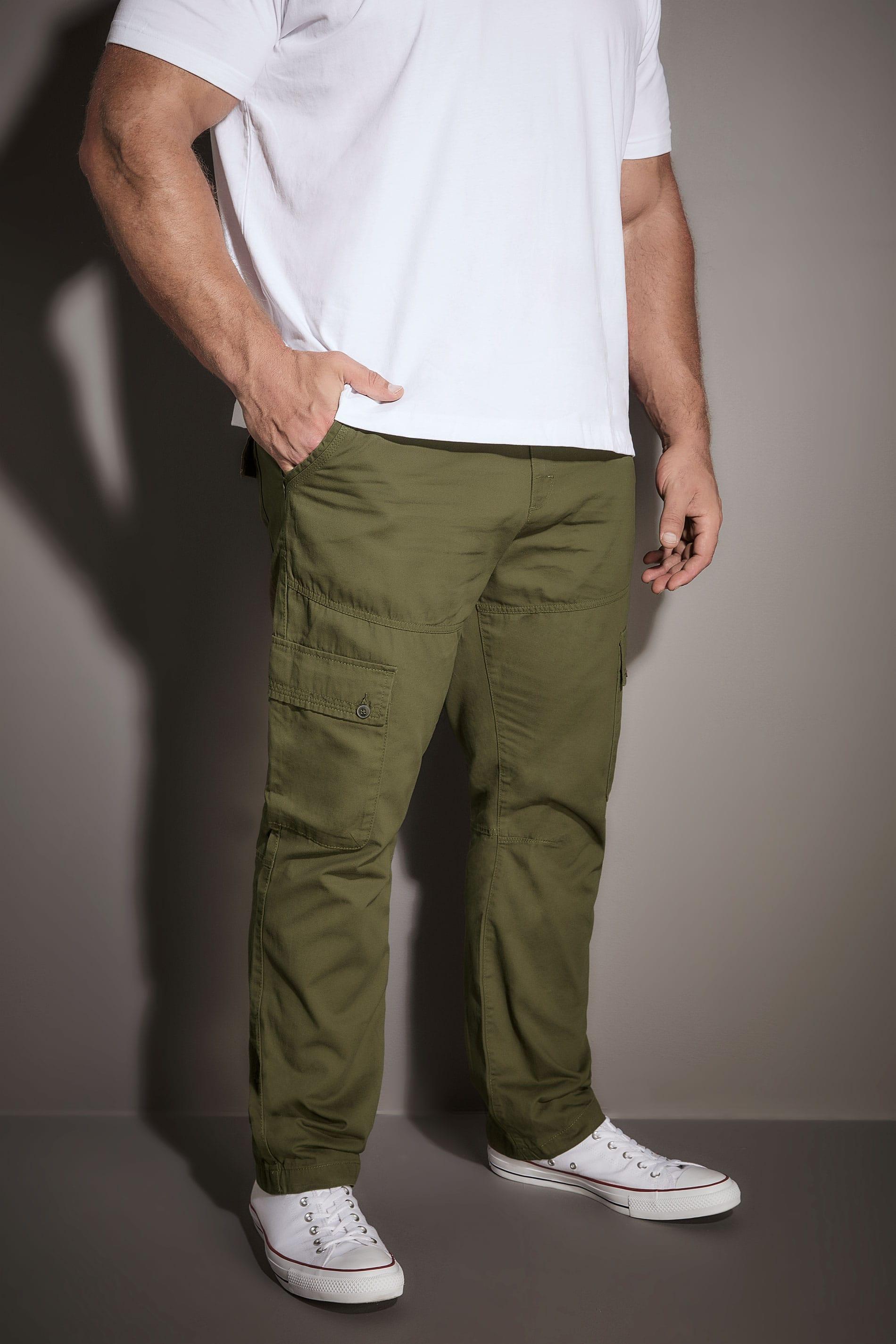 BadRhino Khaki Cargo Trouser With Utility Pockets & Canvas Belt