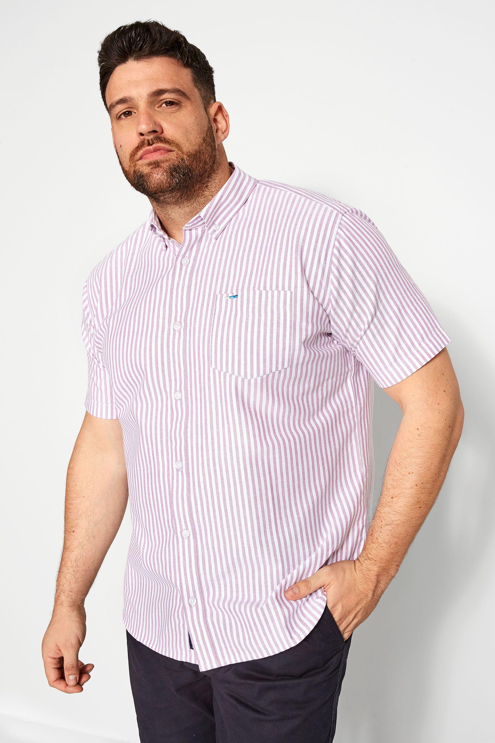 BadRhino Lilac Striped Short Sleeved Oxford Shirt
