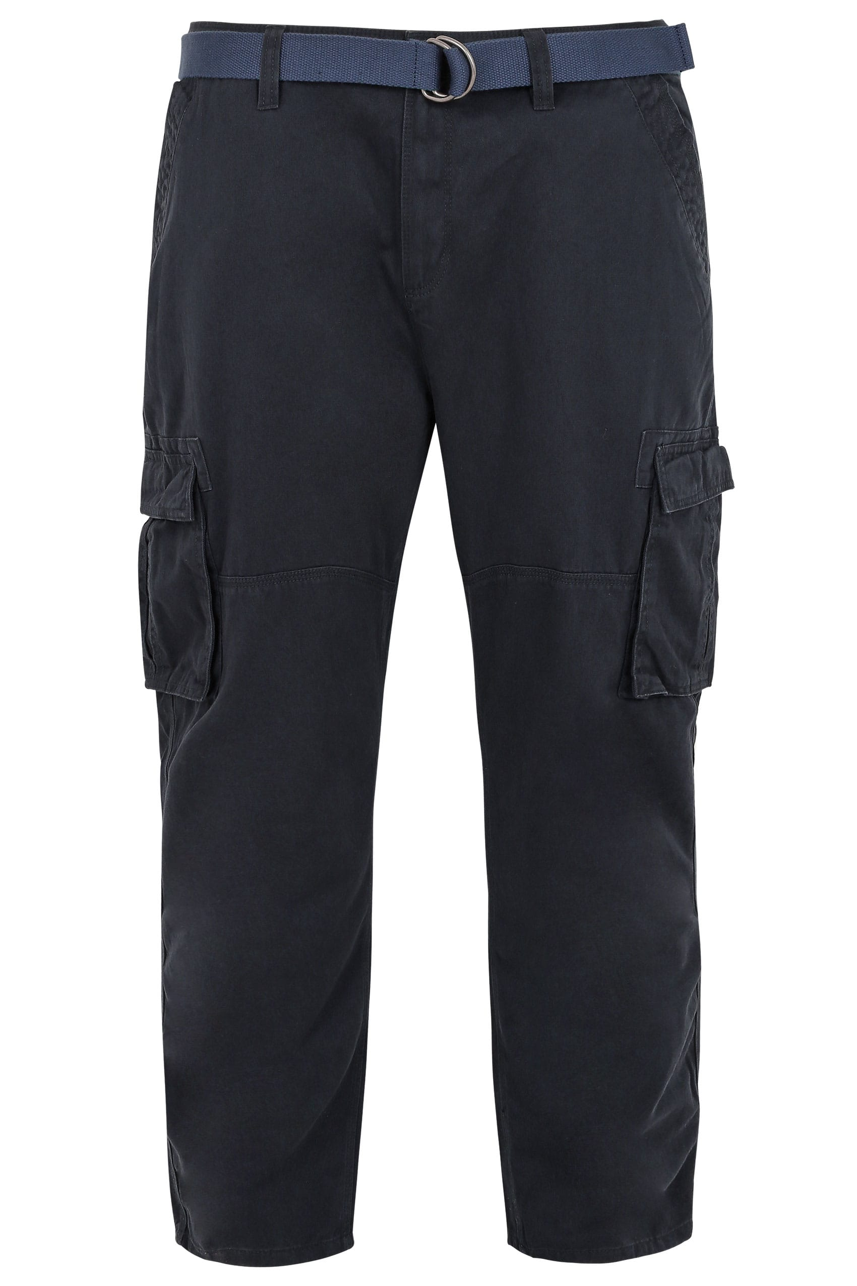 BadRhino Navy Cargo Trousers With Utility Pockets & Canvas Belt