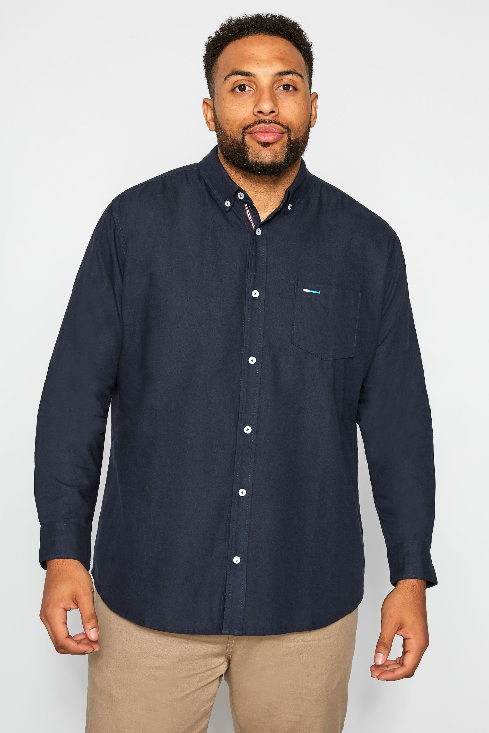 BadRhino Navy Cotton Long Sleeved Oxford Shirt