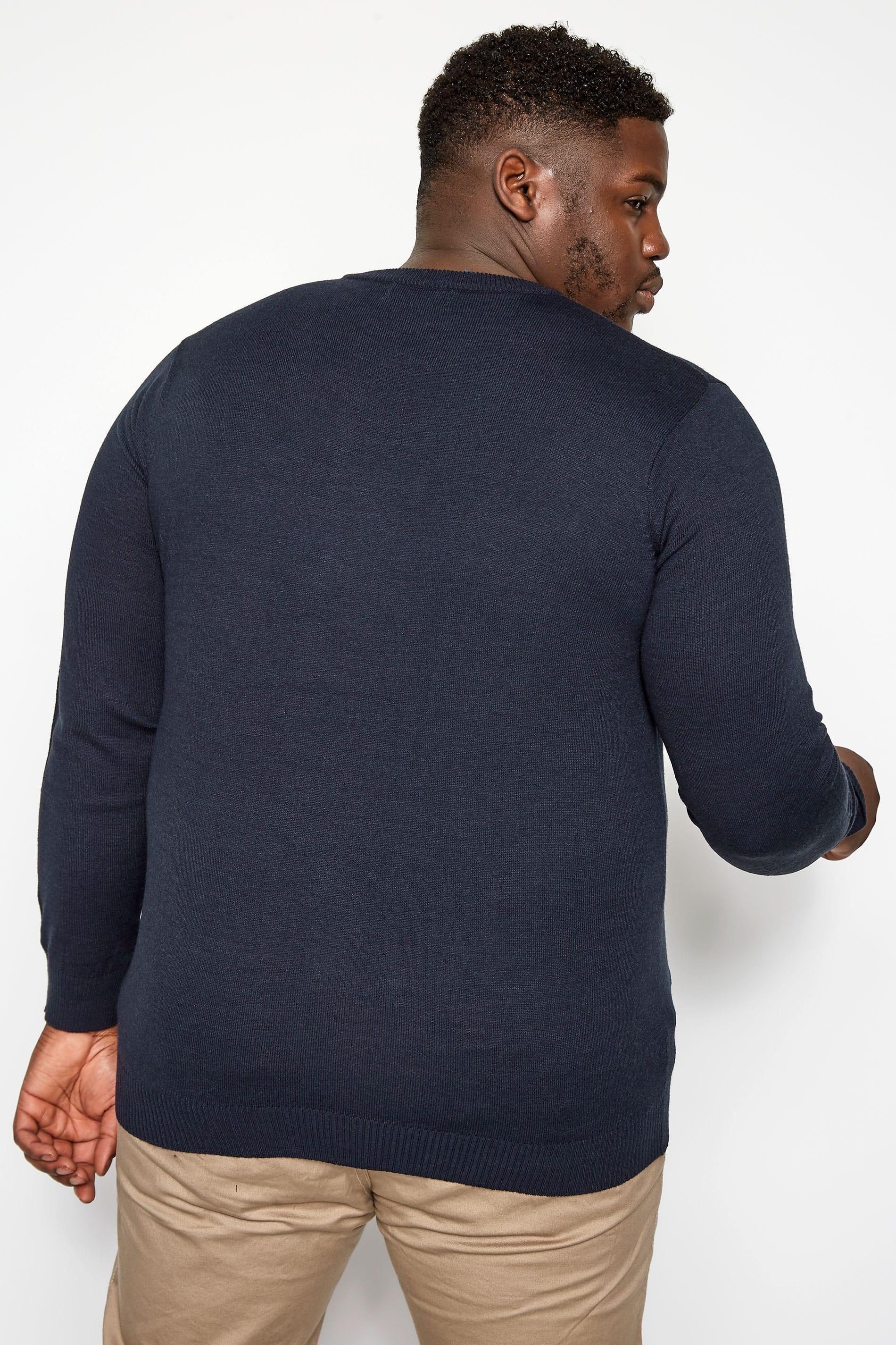Badrhino Mens Black V-neck Fine Knit Jumper