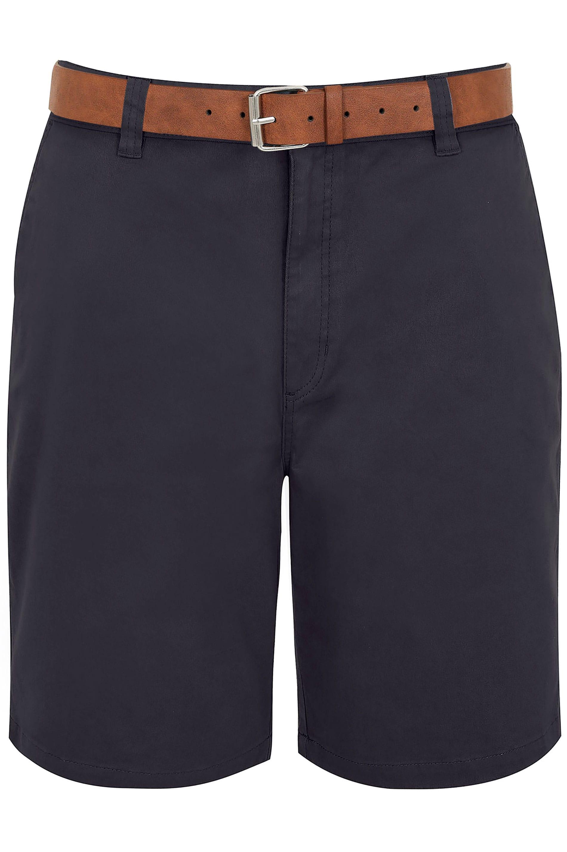 BadRhino Navy Five Pocket Chino Shorts With Belt