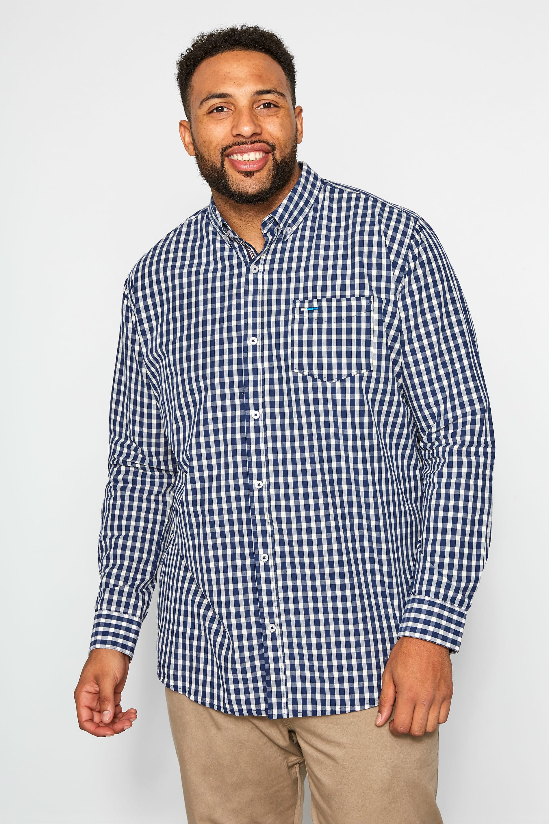 BadRhino Navy Brushed Gingham Check Shirt