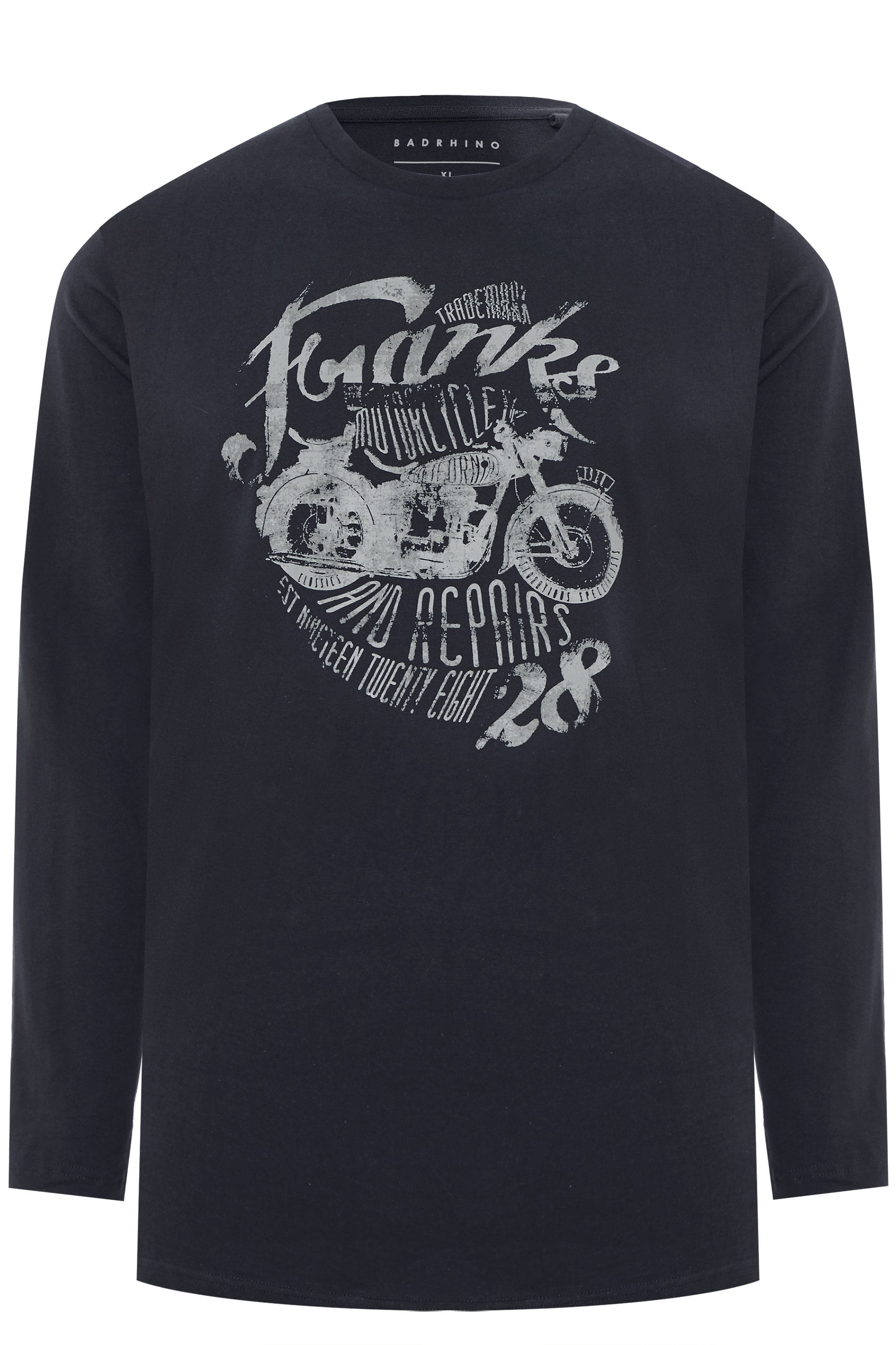 BadRhino Navy Motorcycle Print Long Sleeve T-shirt