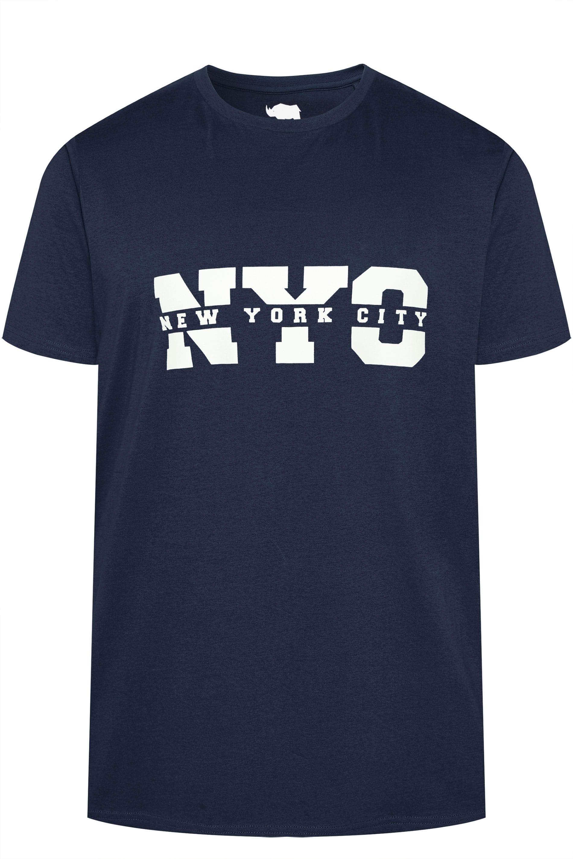 BadRhino Navy NYC Slogan T-Shirt