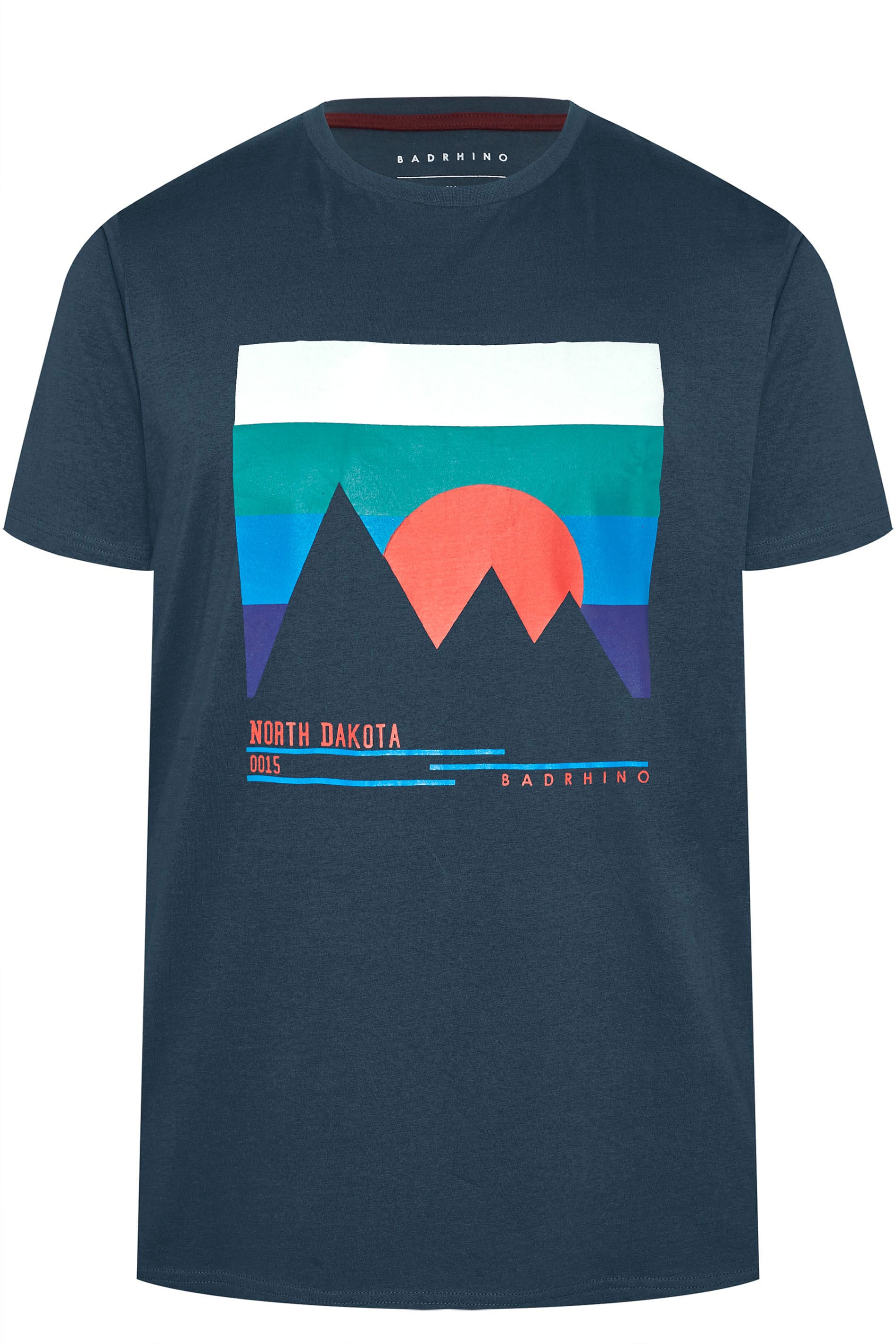 BadRhino Navy 'North Dakota' Slogan Print T-Shirt