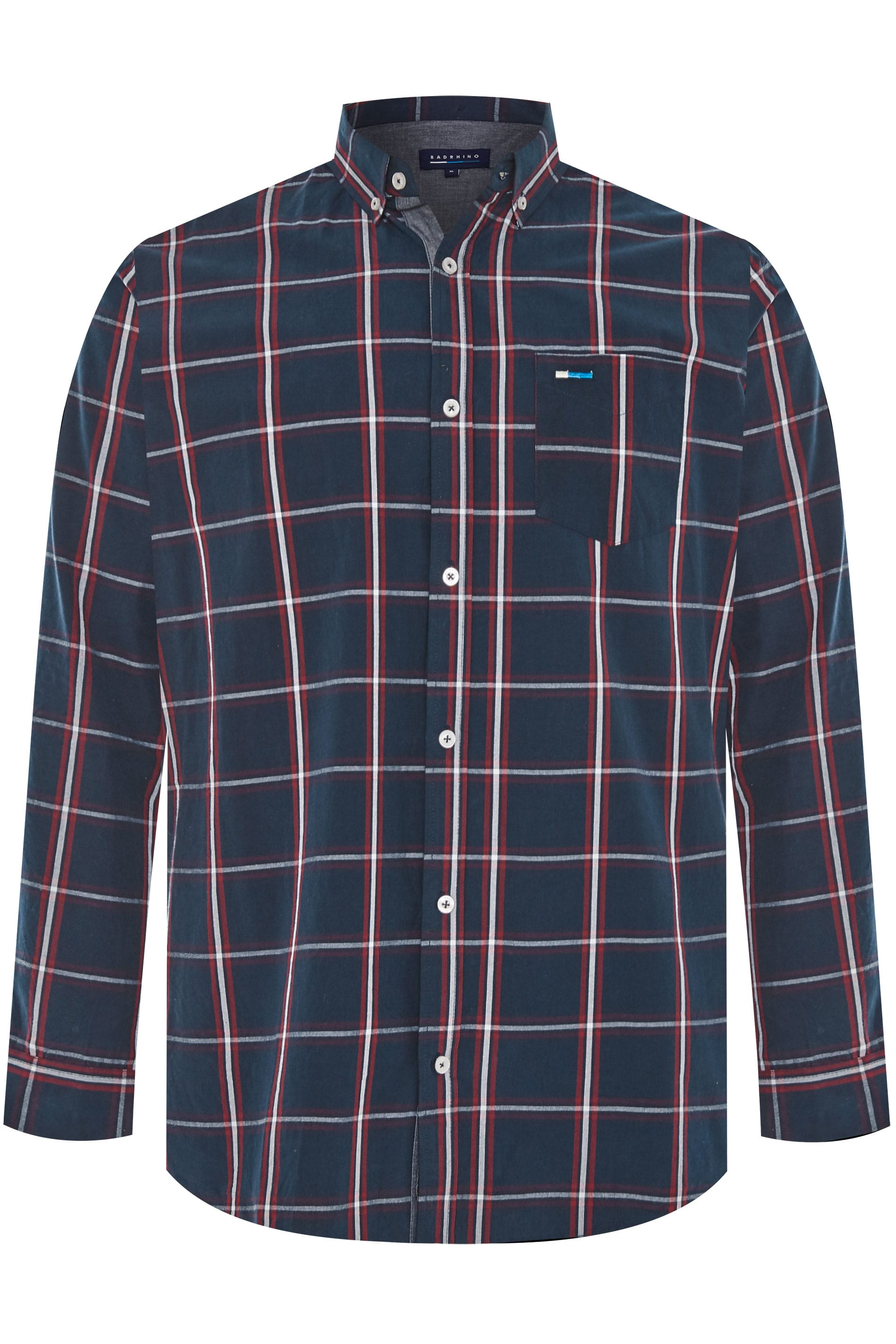 BadRhino Navy Peached Large Check Shirt
