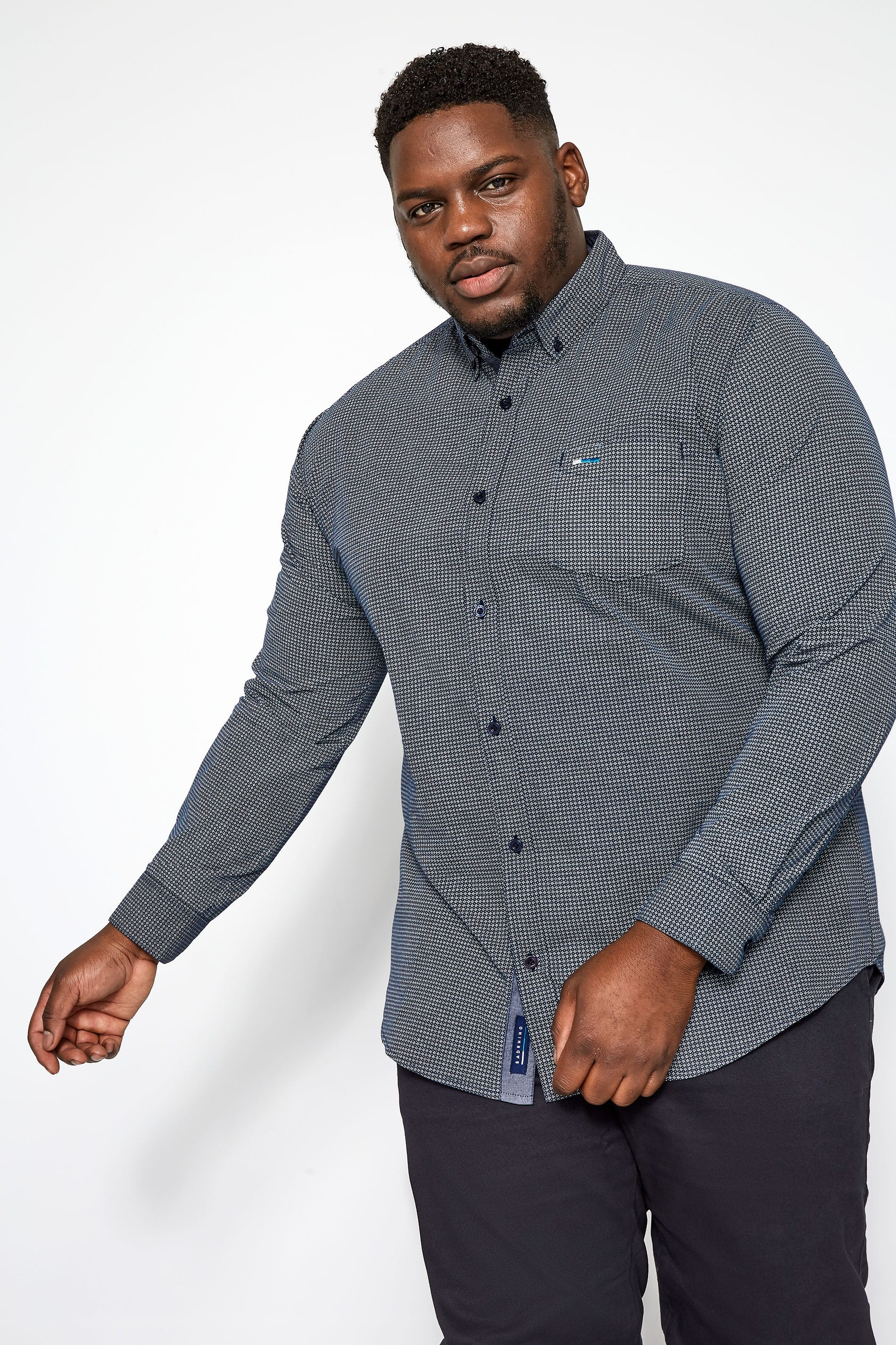 BadRhino Navy Printed Button Down Shirt