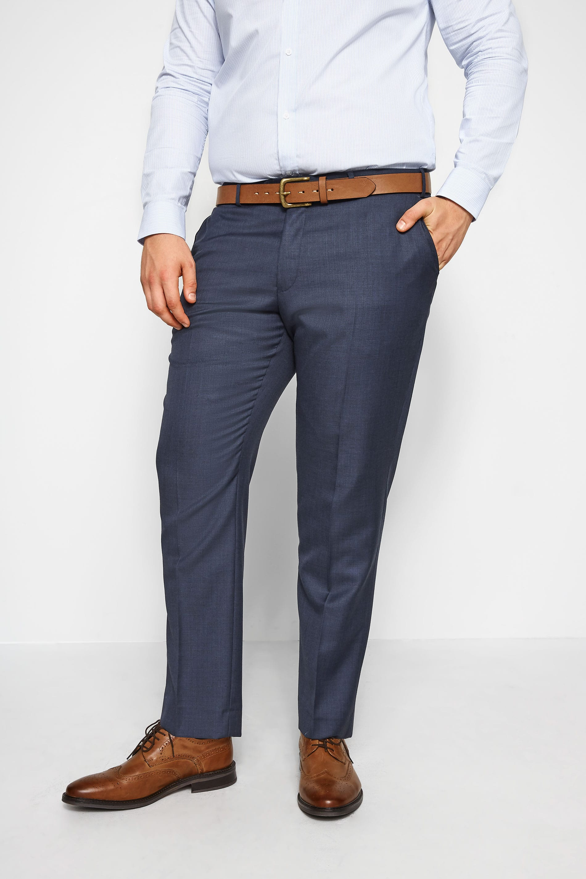 BadRhino Navy Sharkskin Suit Trousers